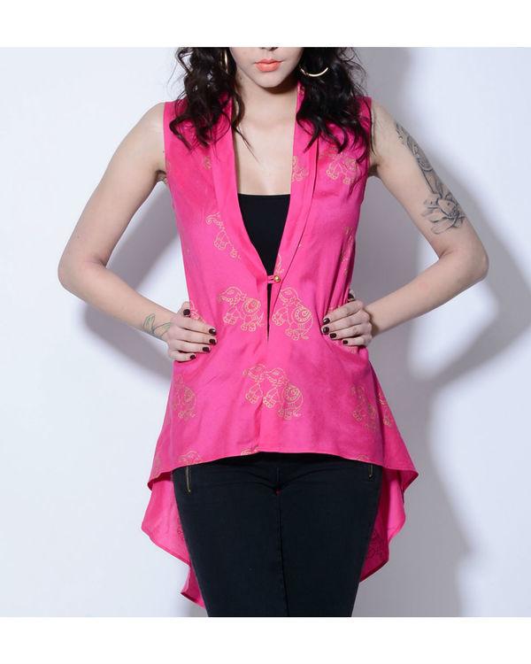 Pink elephant foil printed jacket