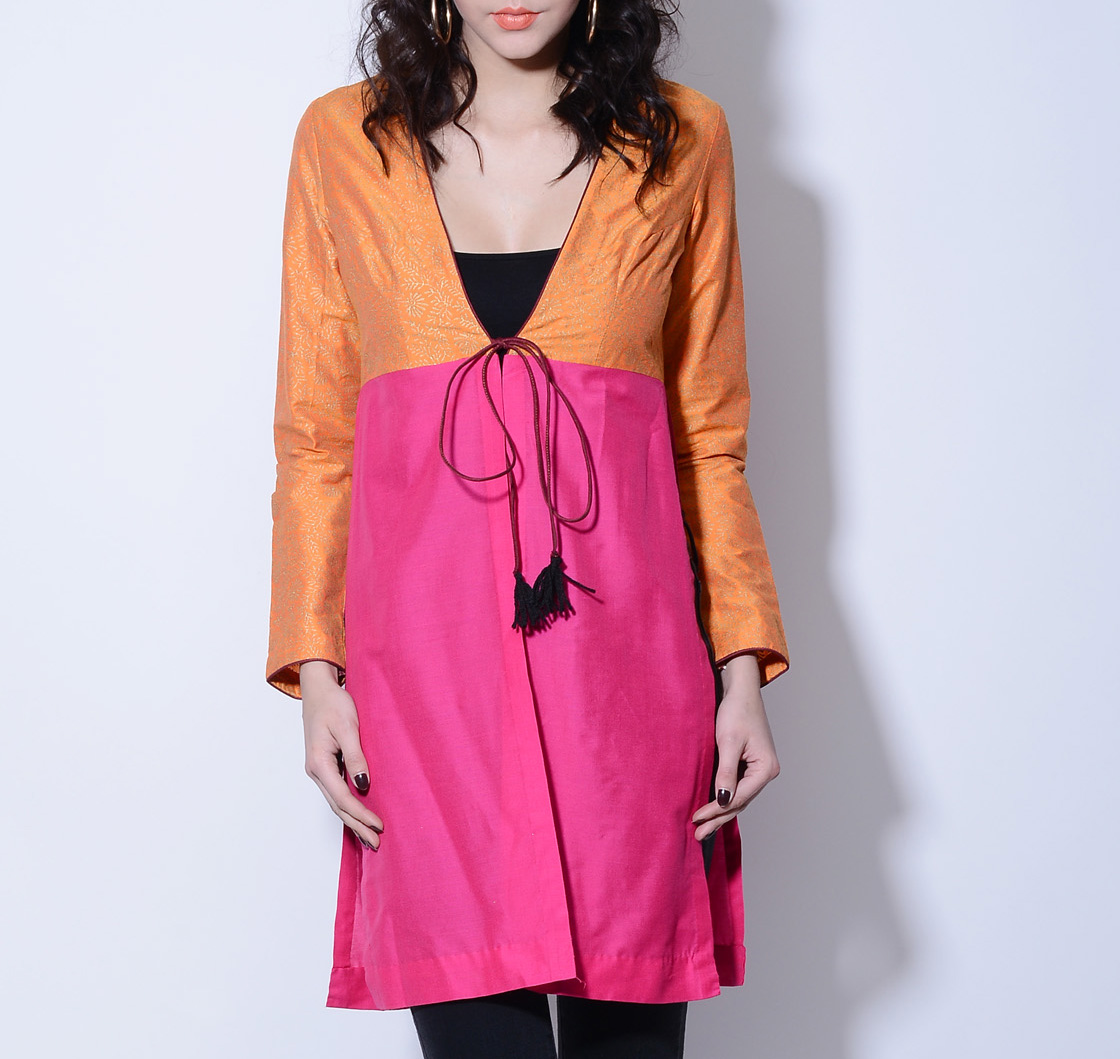 Orange and pink wrap jacket