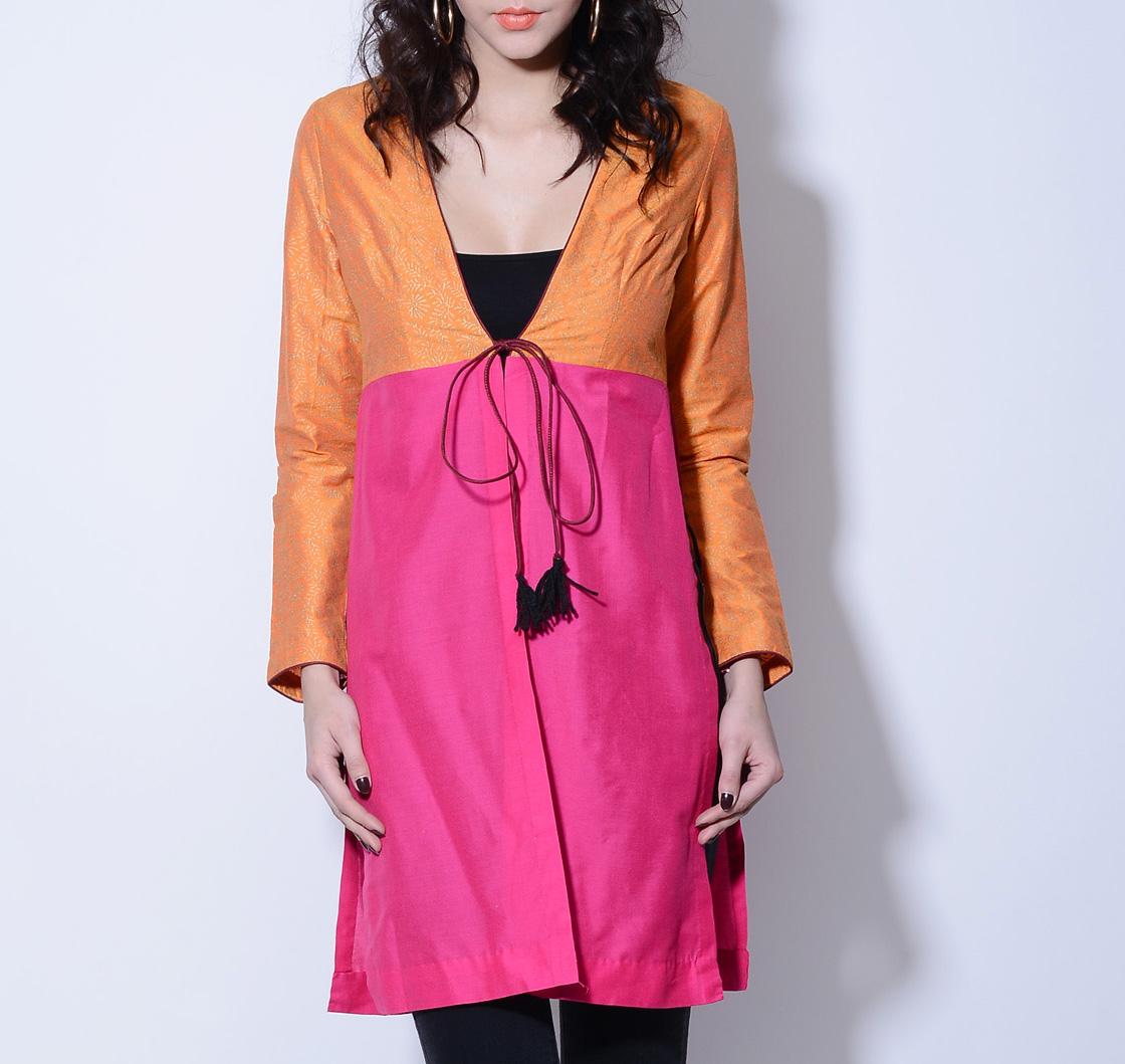 Orange and pink wrap jacket