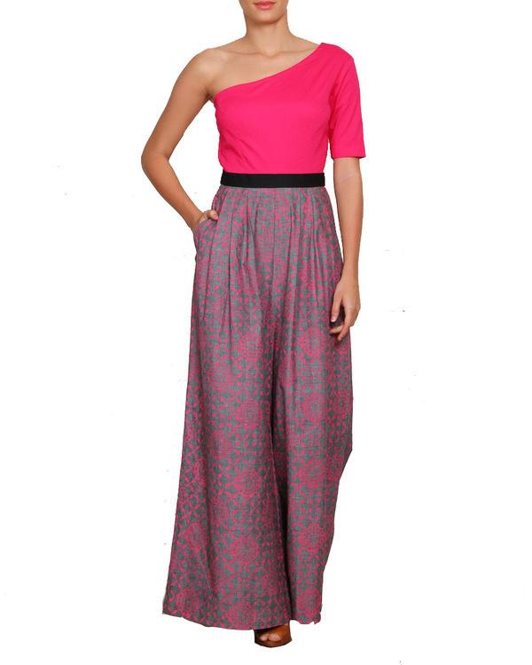 Pink off shoulder jumpsuit