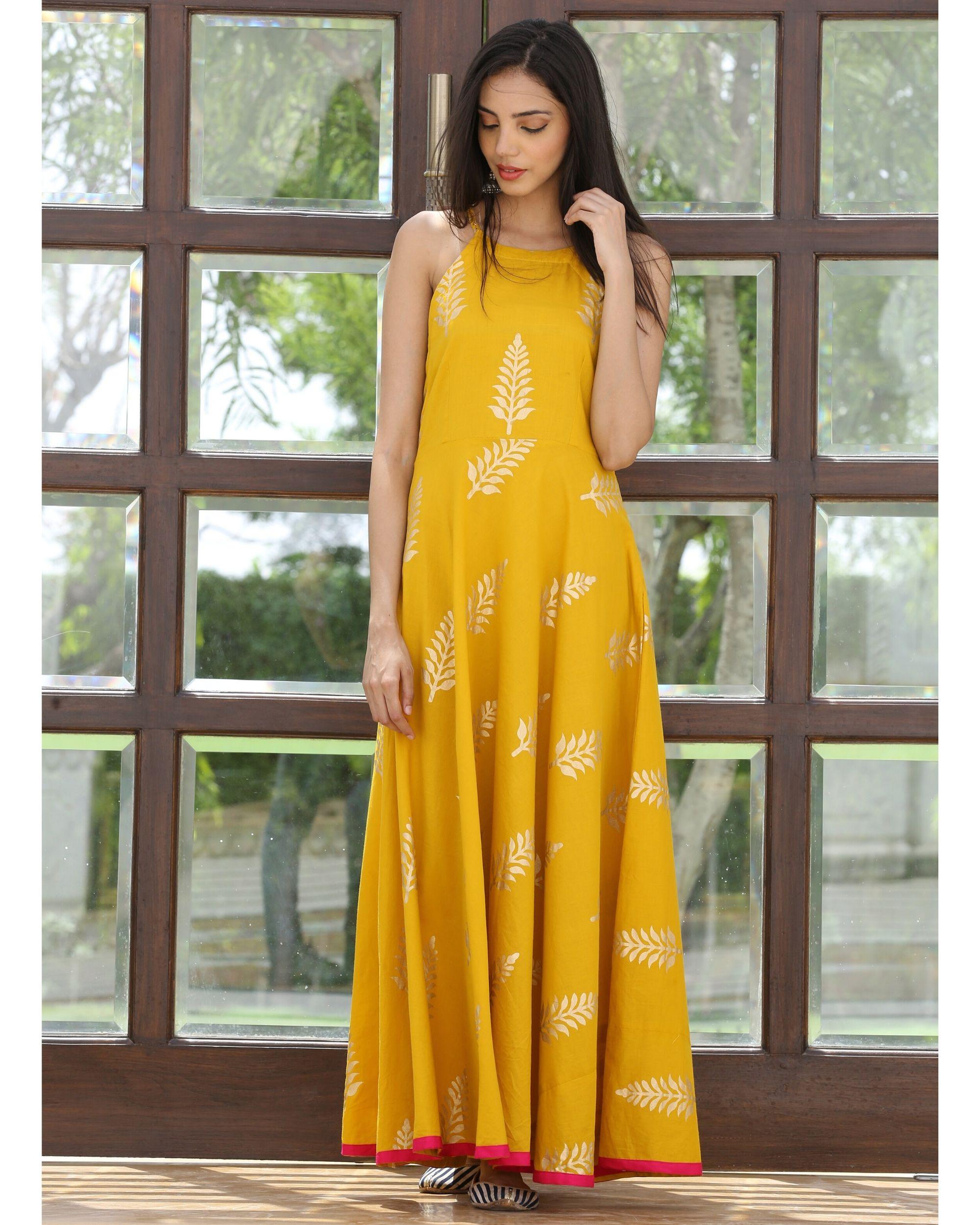 Mango yellow halter maxi dress