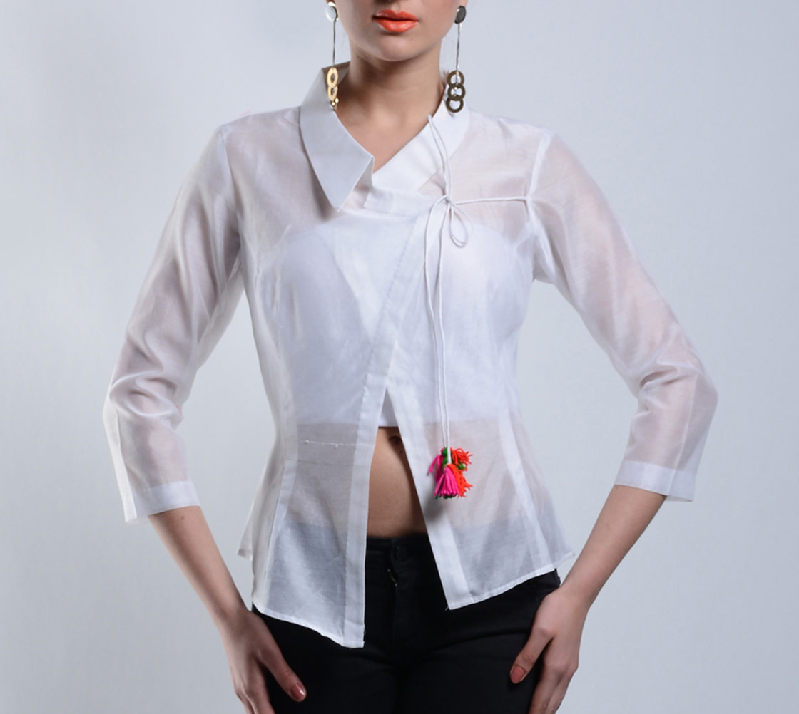 Asymmetrical white chanderi top