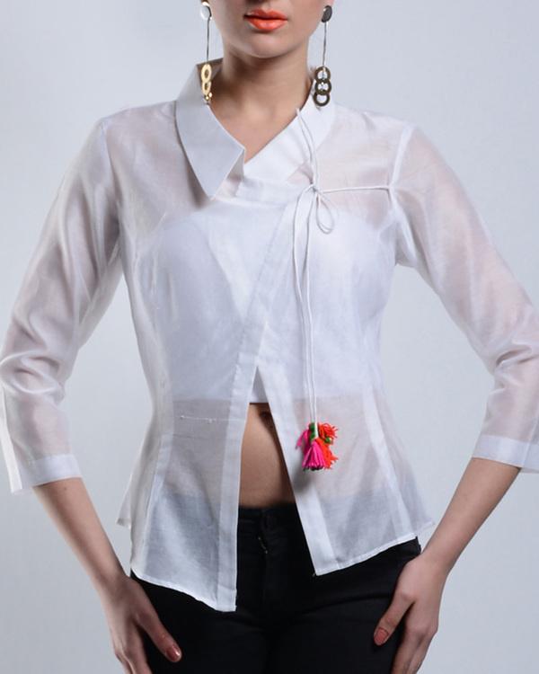 Asymmetrical white chanderi top