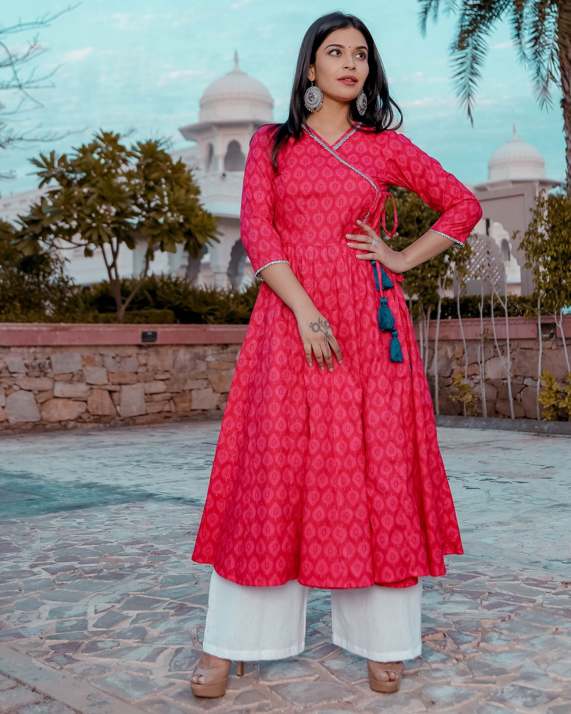 Pink printed angrakha kurta and palazzo- Set Of Two