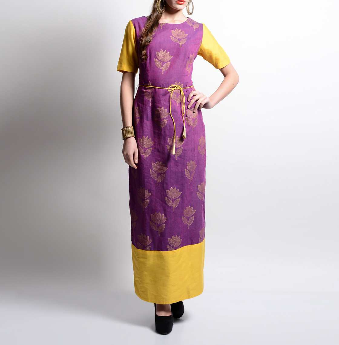Lotus printed maxi dress
