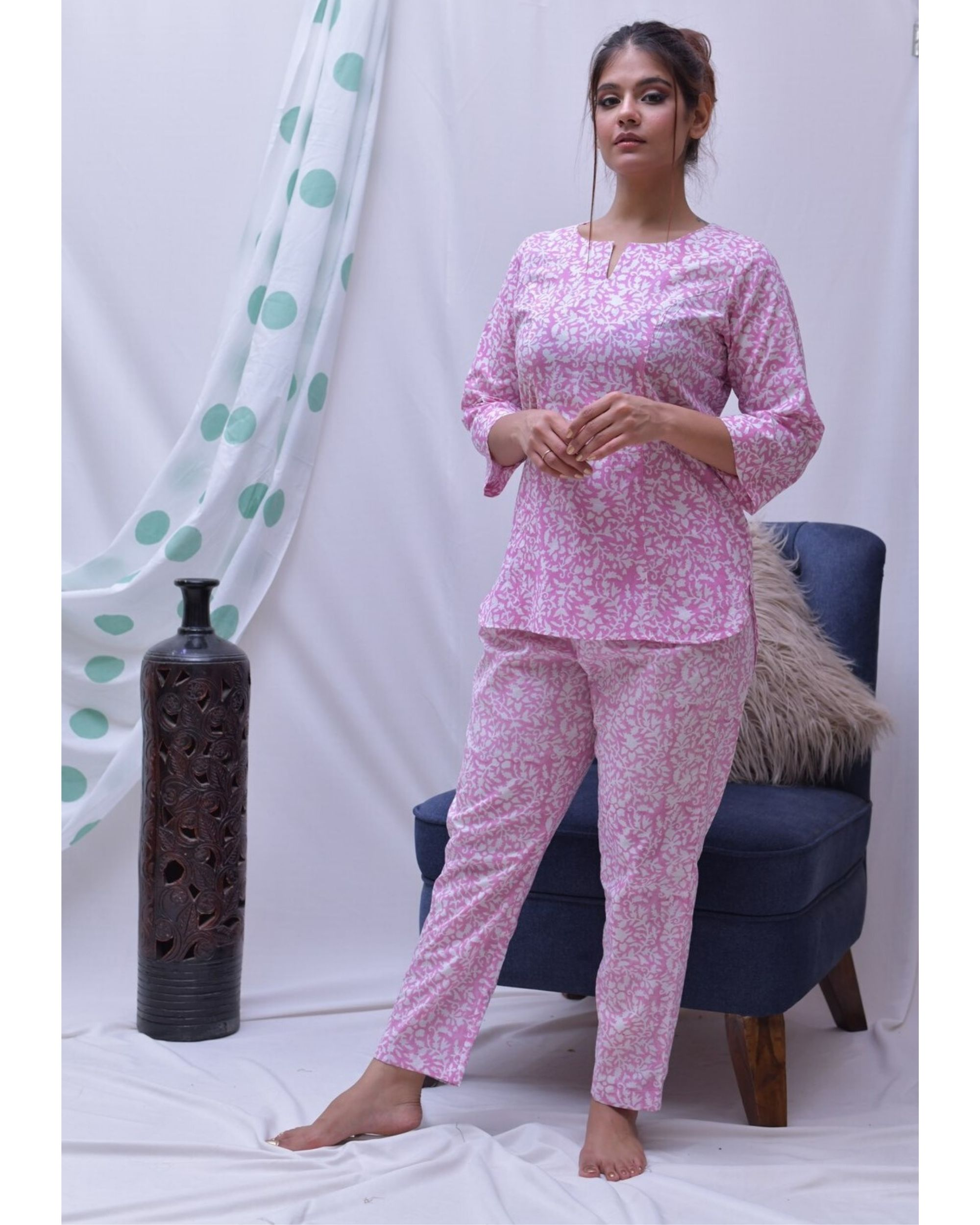 Pink hand block printed top and pants- Set Of Two