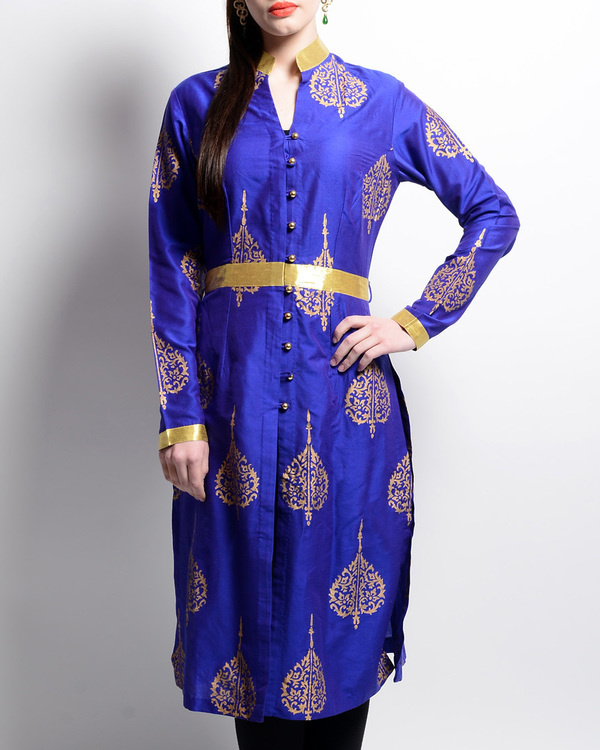 Blue and golden printed tunic