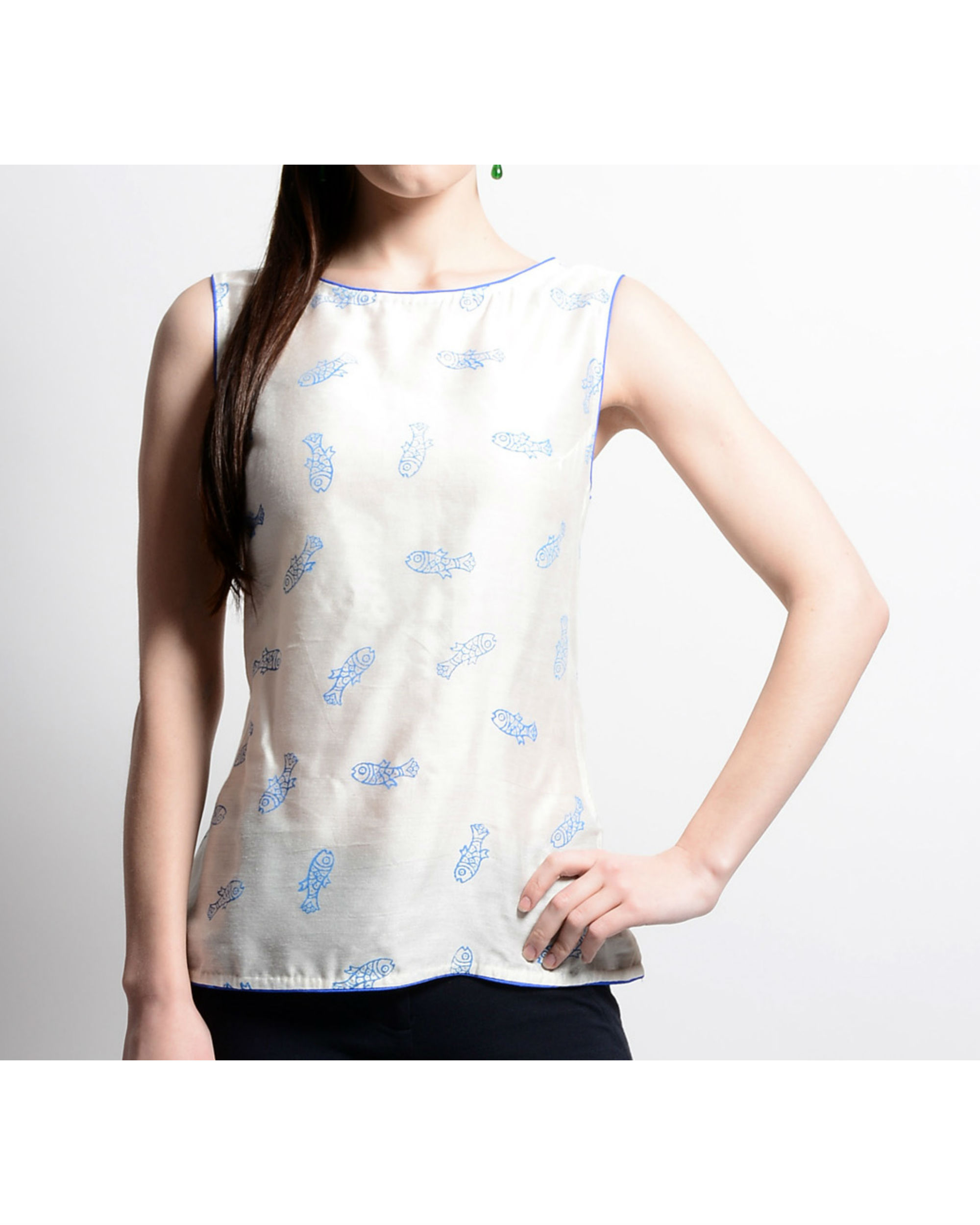 White chanderi top with fish print