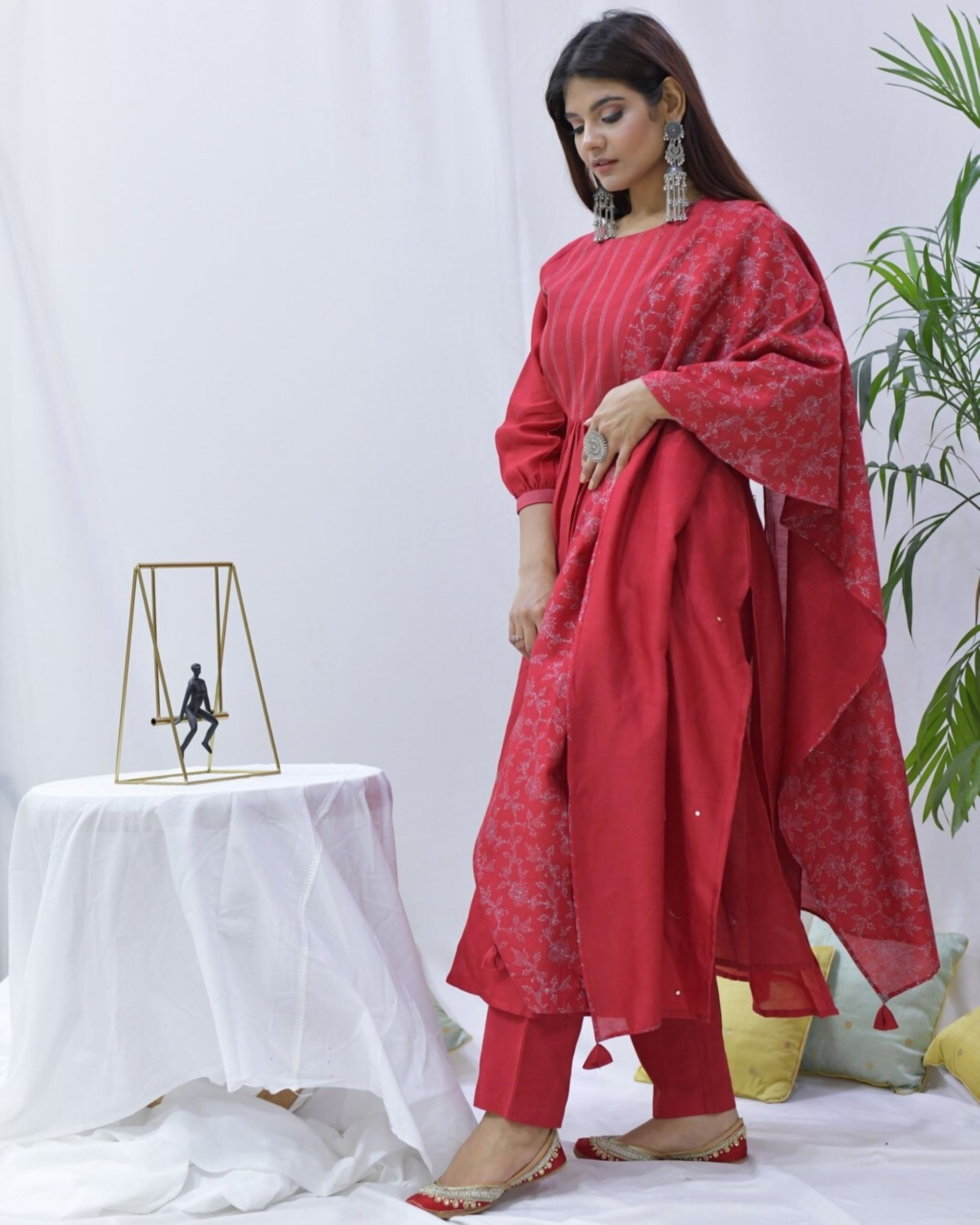 Red hand block printed stole