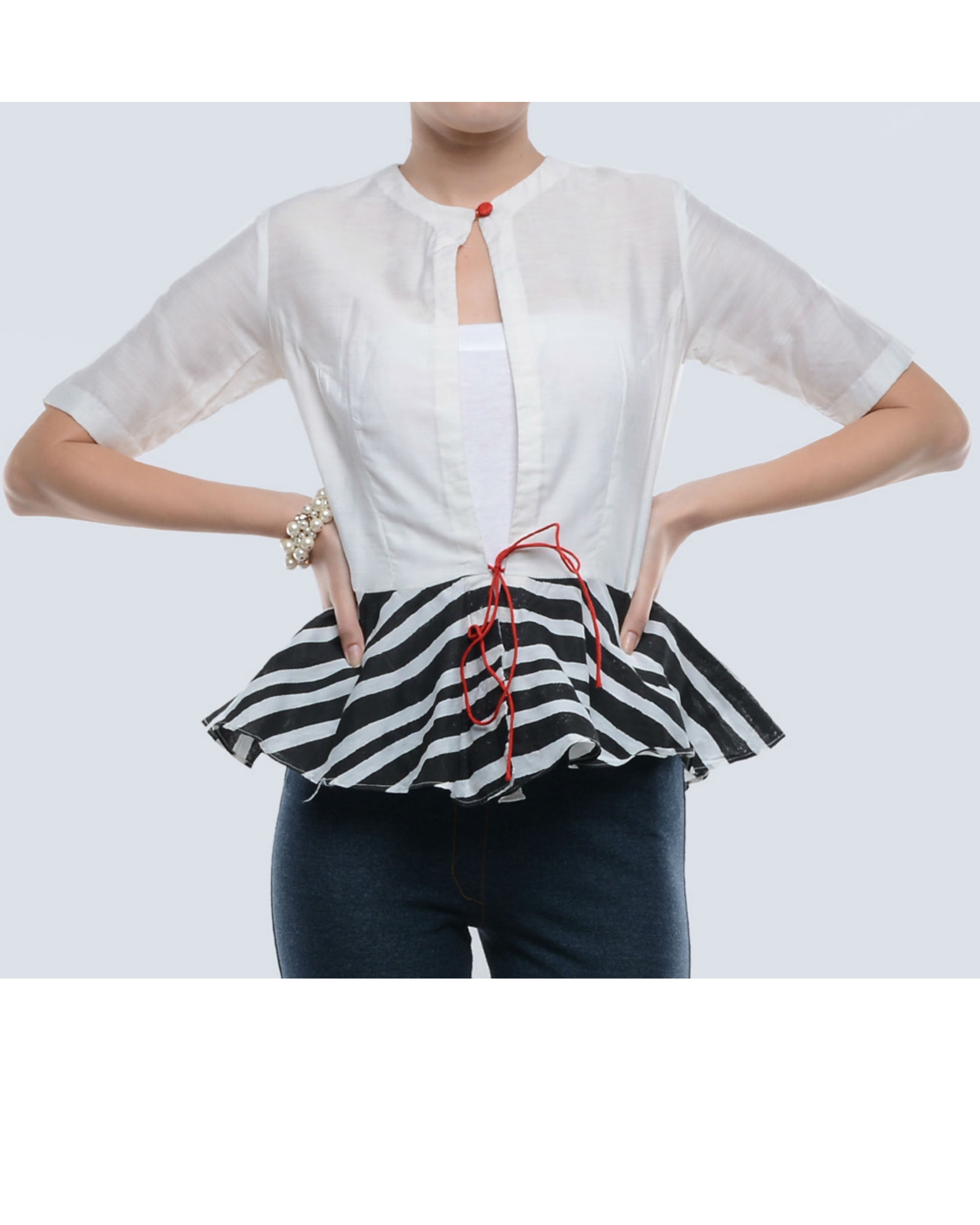 Black and white chanderi top