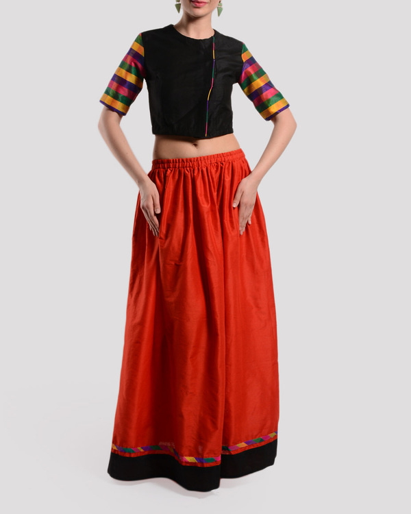 Red and black crop top with gathered skirt