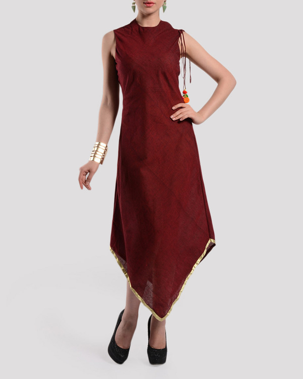 Maroon bias cut dress in mangalgiri