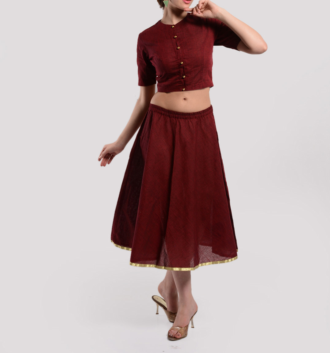 Maroon crop top and skirt set
