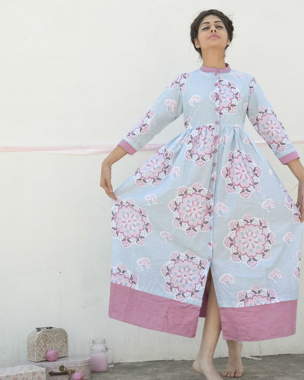 Pastel blue floral dress