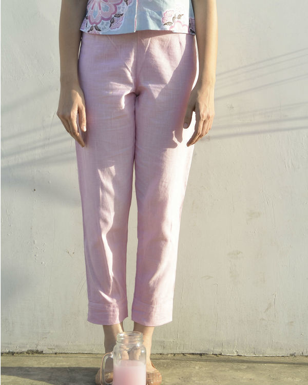 Pastel pink ankle length trouser