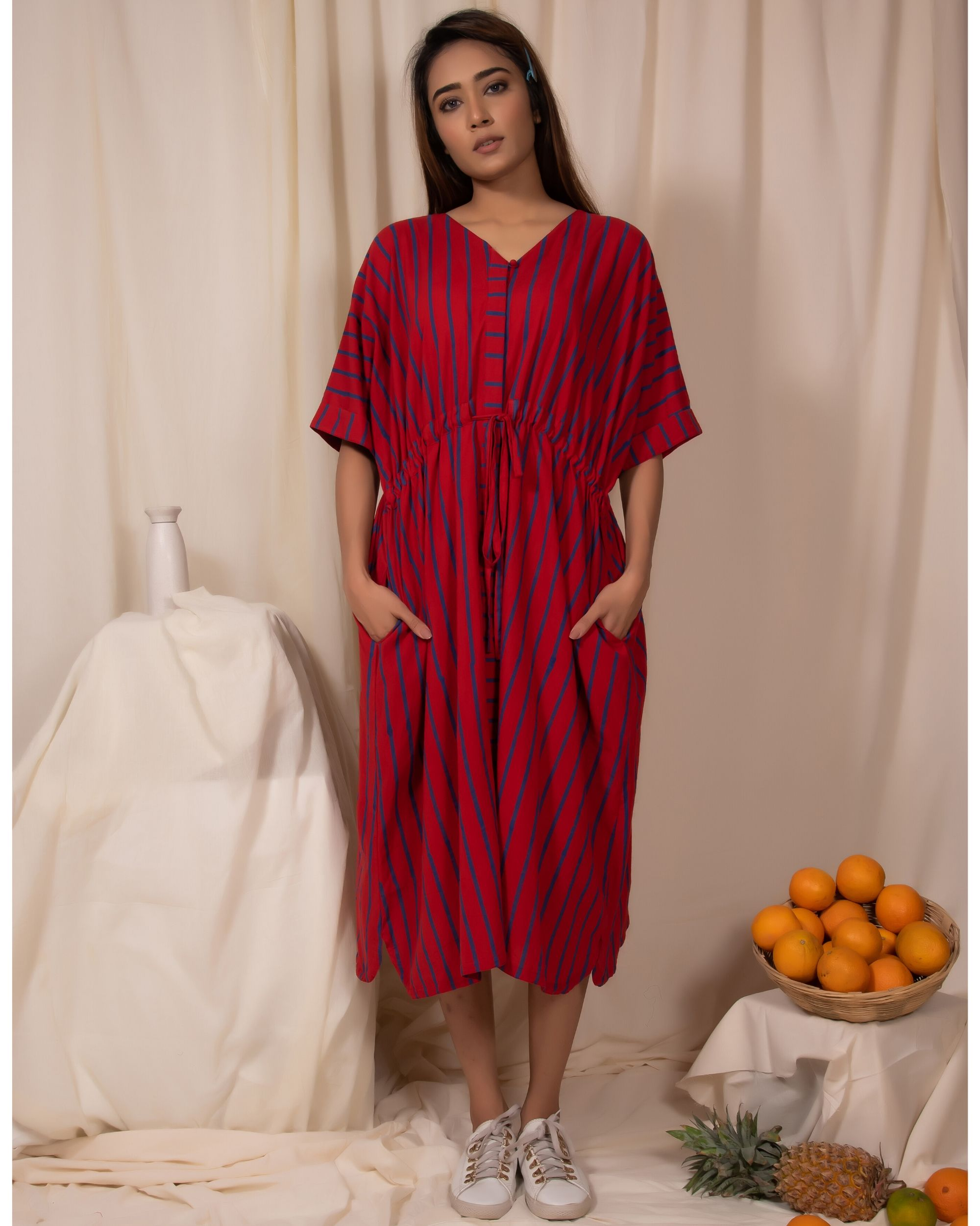 Red striped tie-up dress