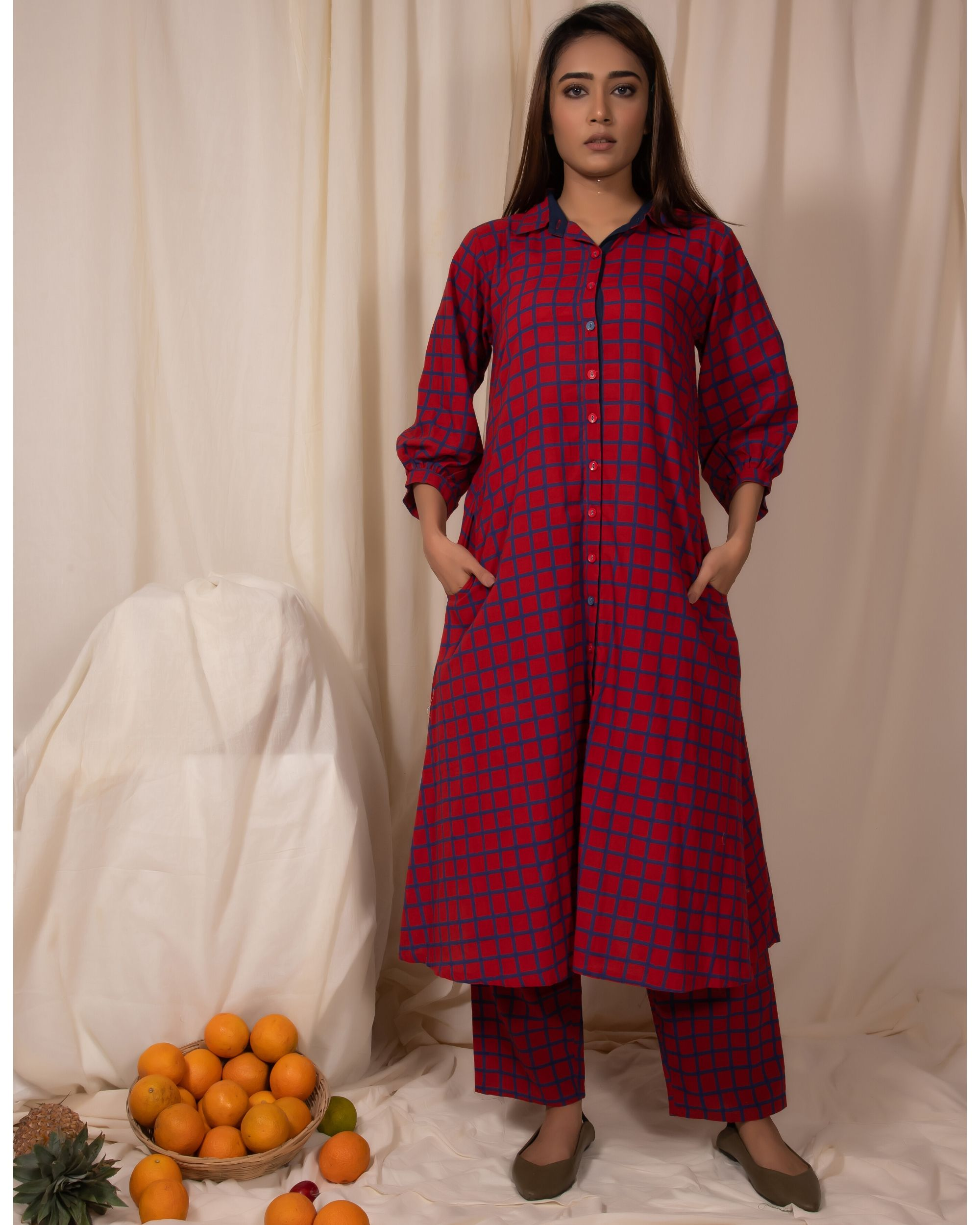 Red checkered button down kurta and pants- Set Of Two