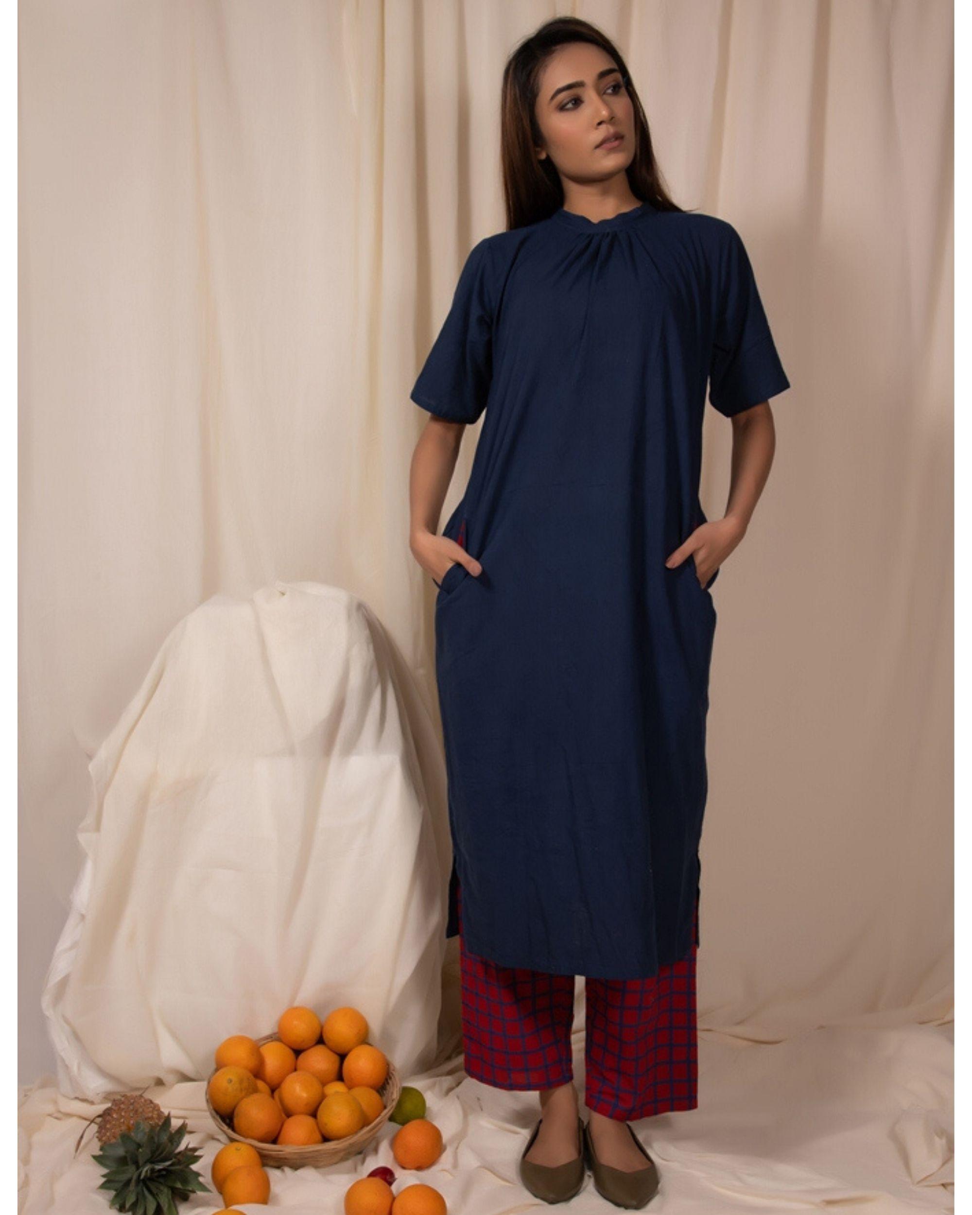 Indigo closed neck kurta and pants- Set Of Two