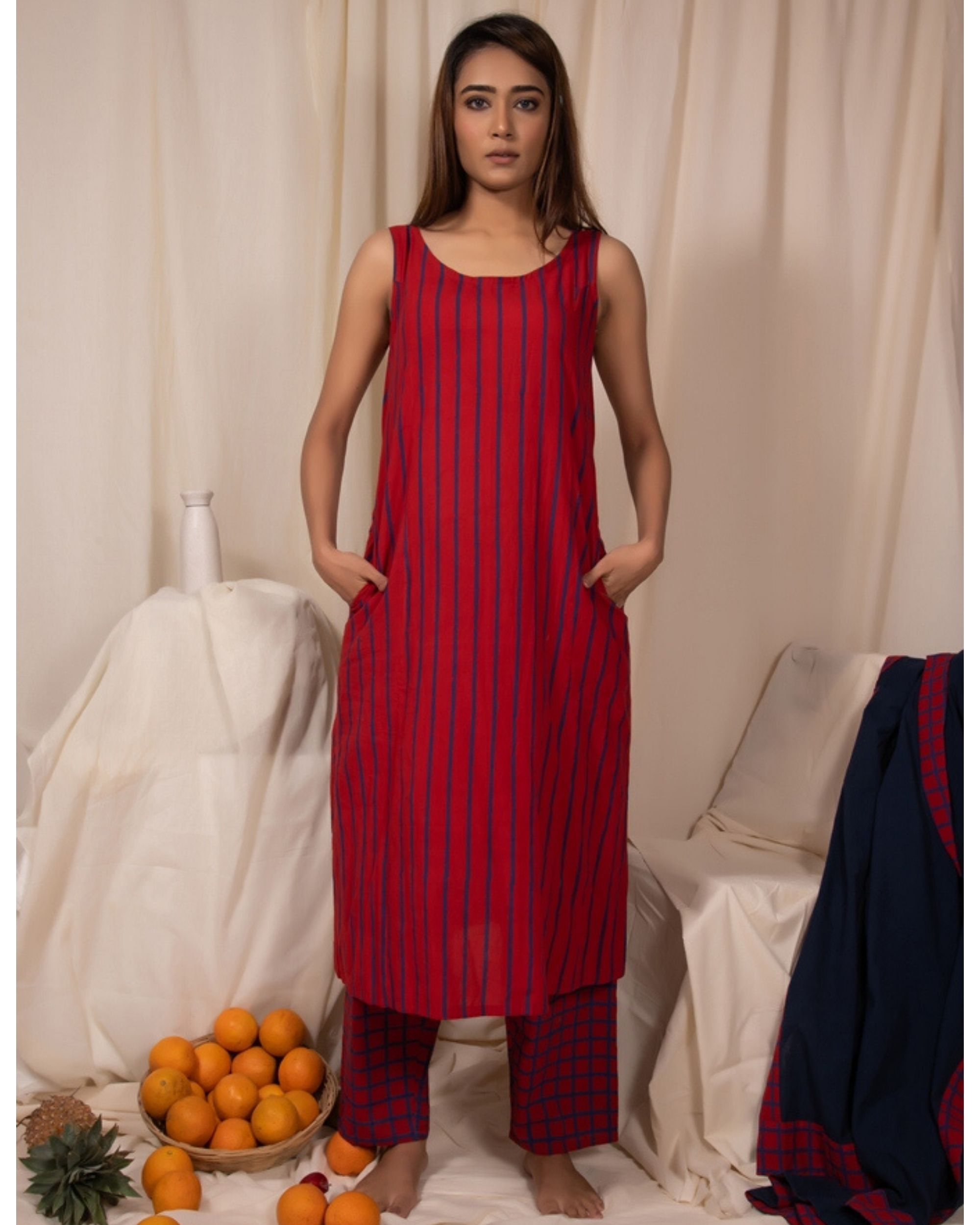Red striped dress and pants- Set Of Two