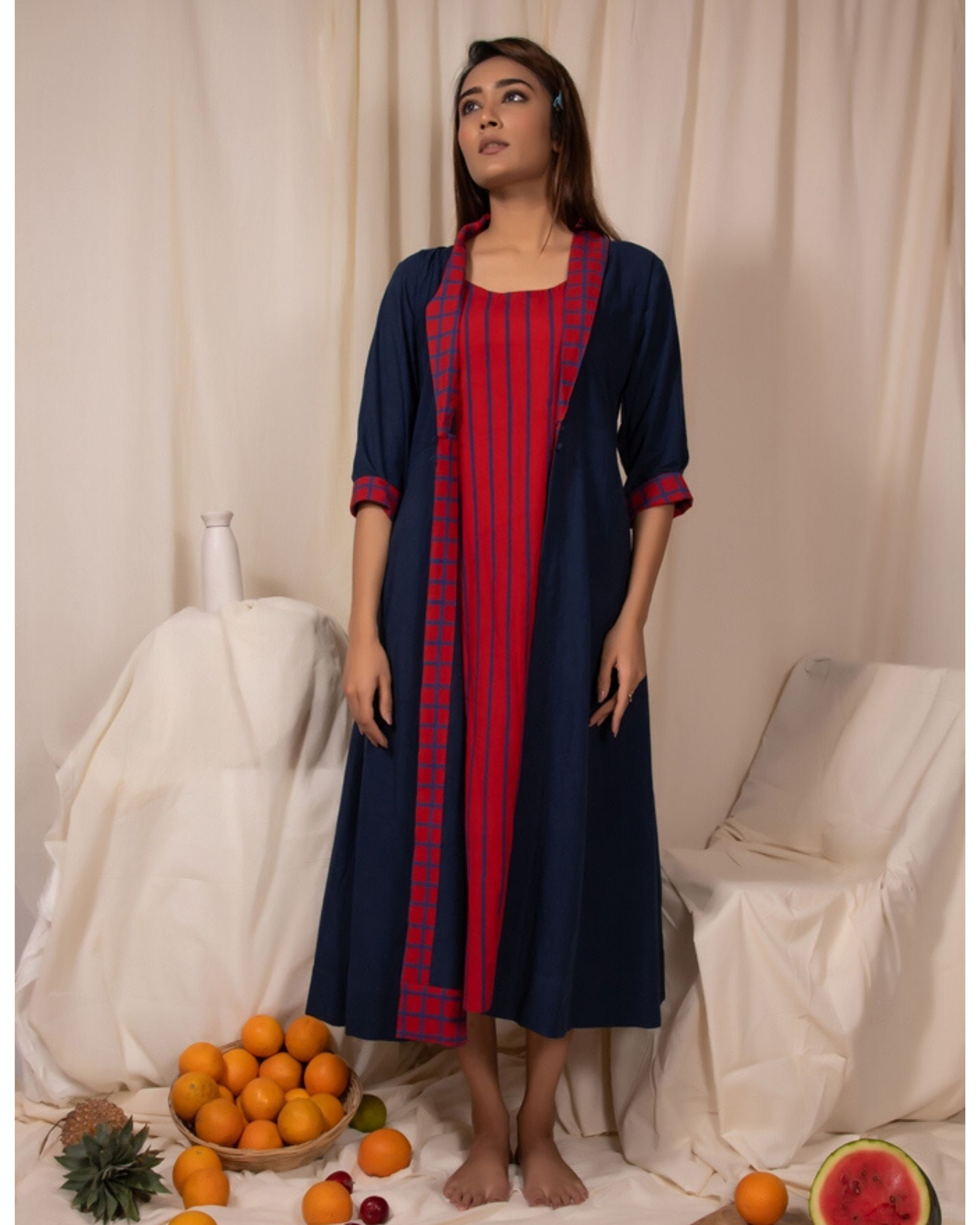 Indigo buttoned jacket and striped dress- Set Of Two