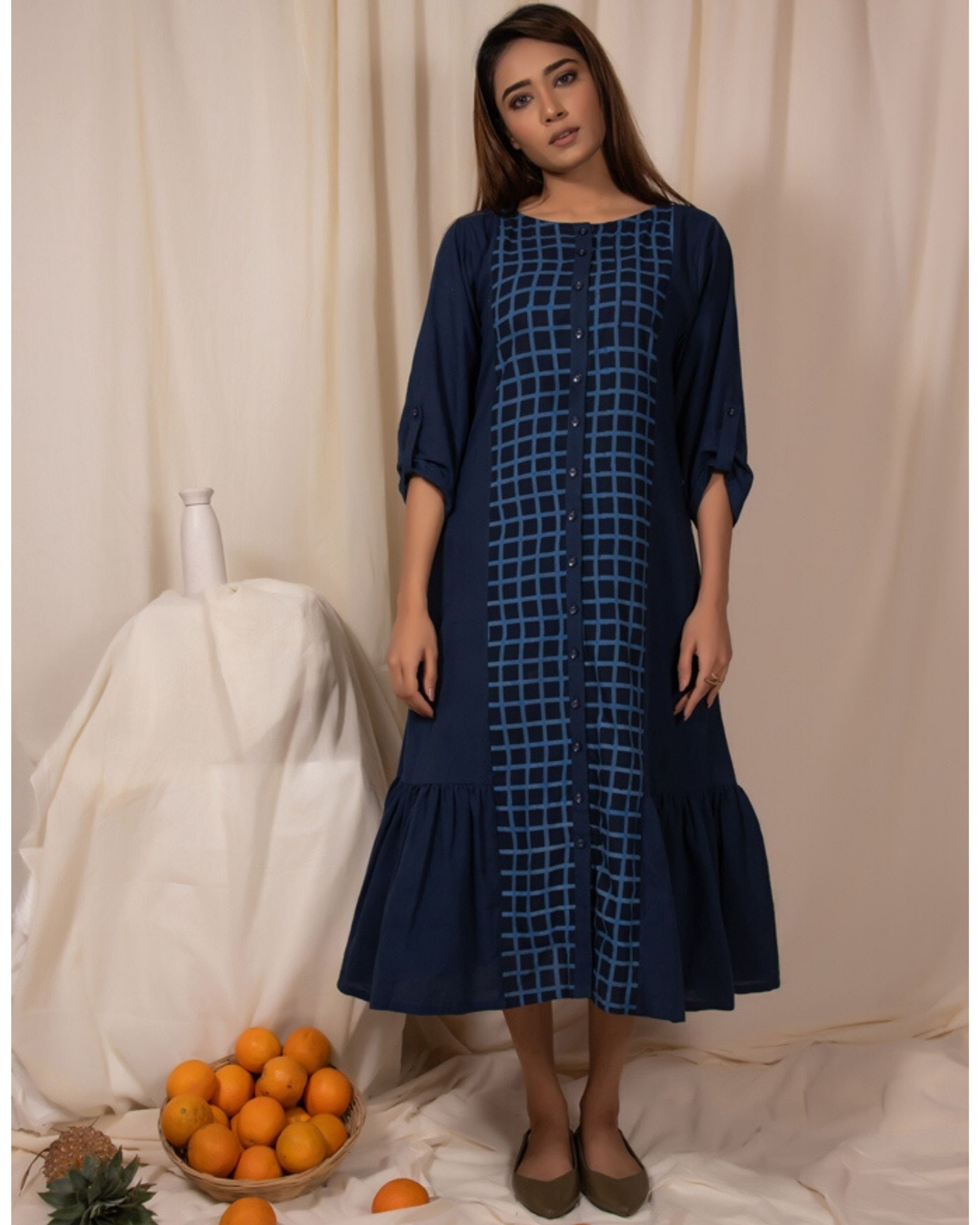 Indigo paneled ruffle dress