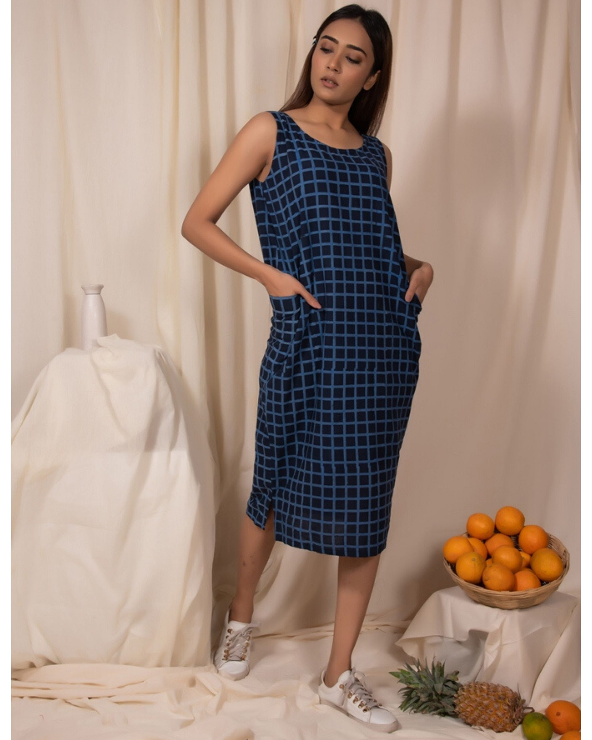 Moon melon cocoon dress with pockets