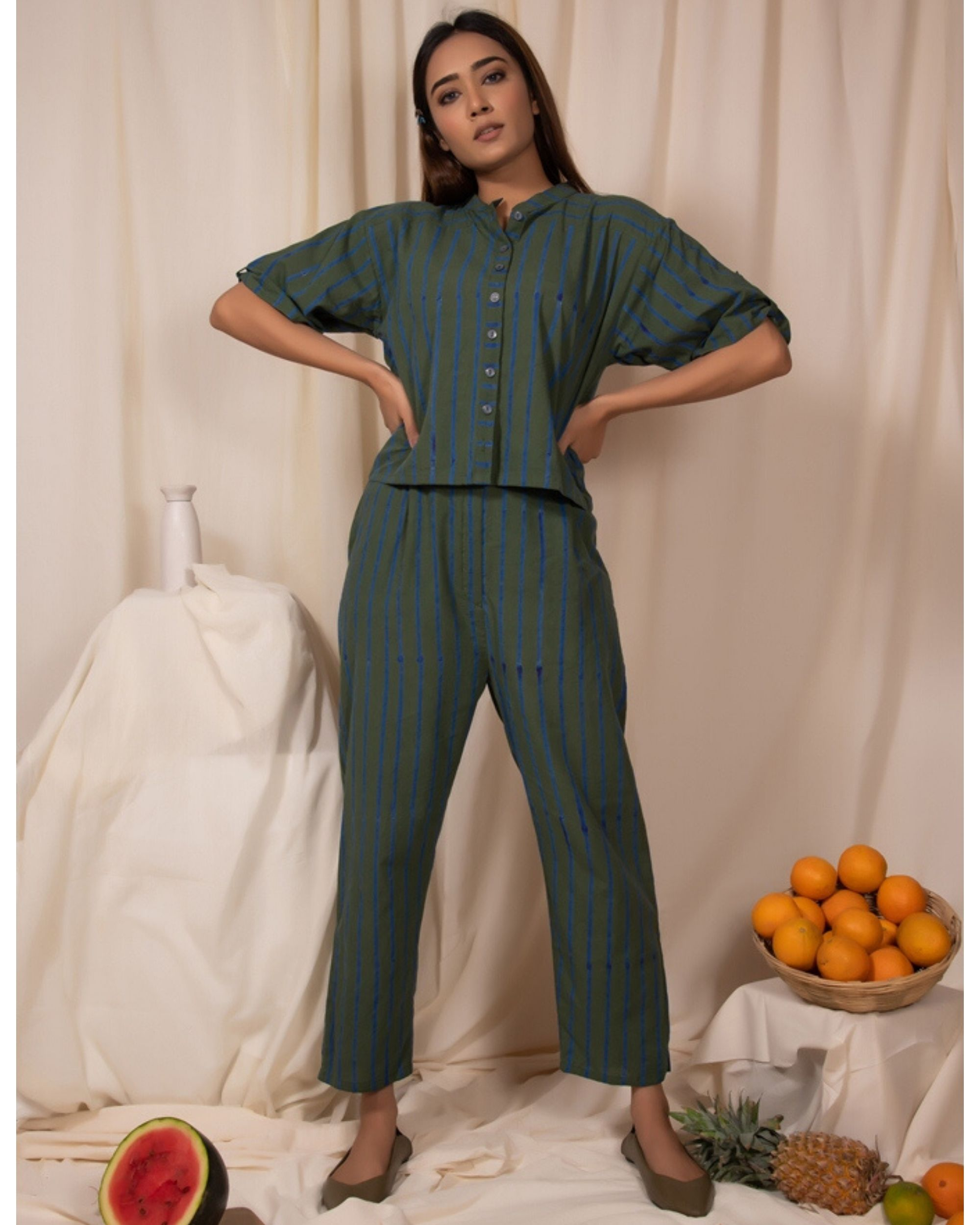 Dark green striped shirt and pants- Set Of Two