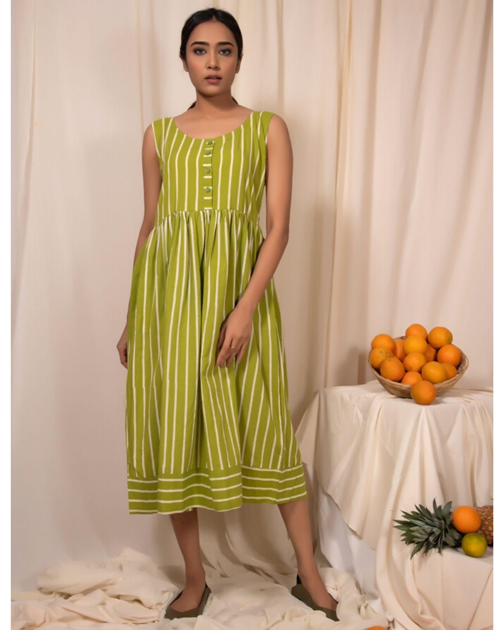Lime green striped dress