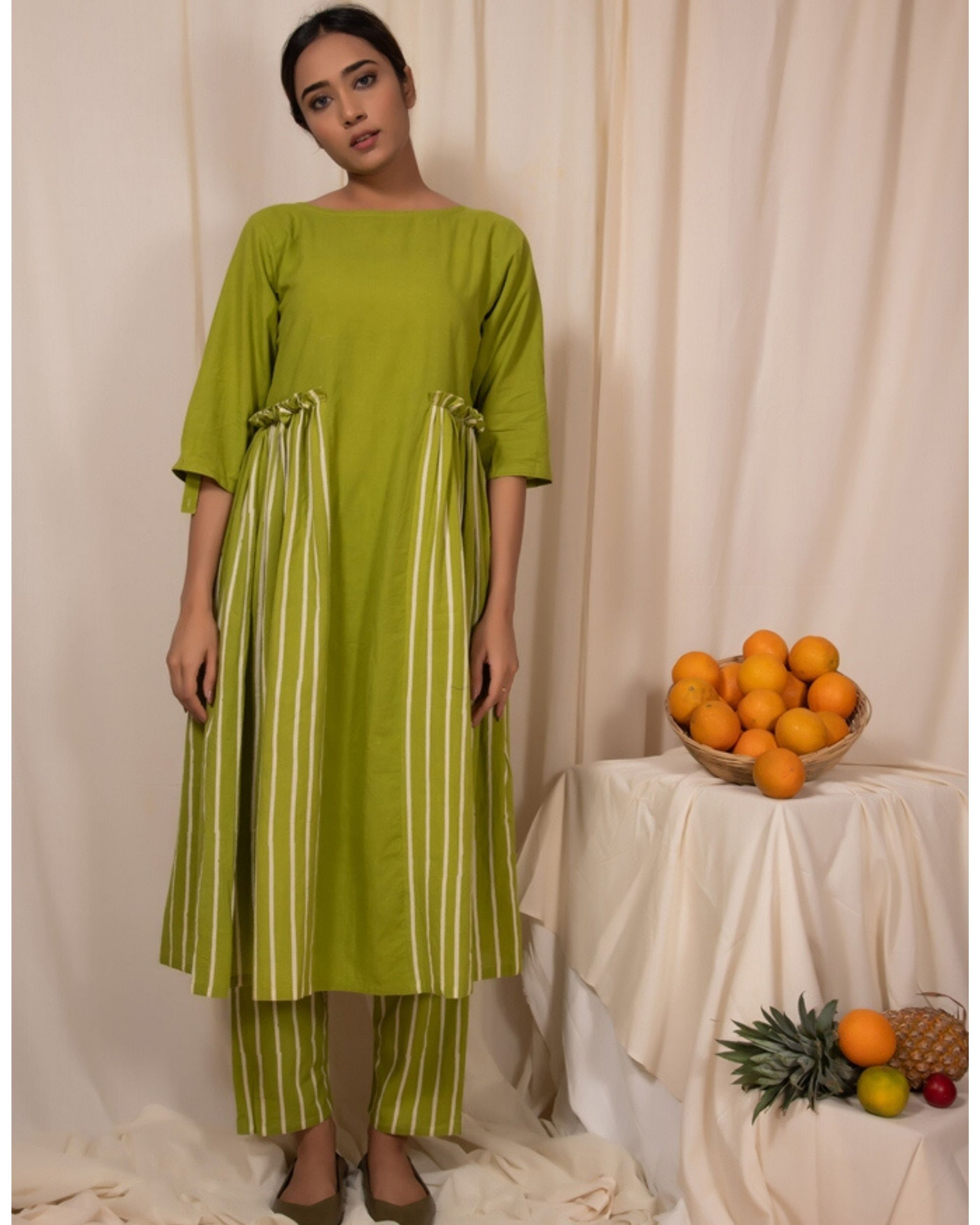 Lime green paneled dress