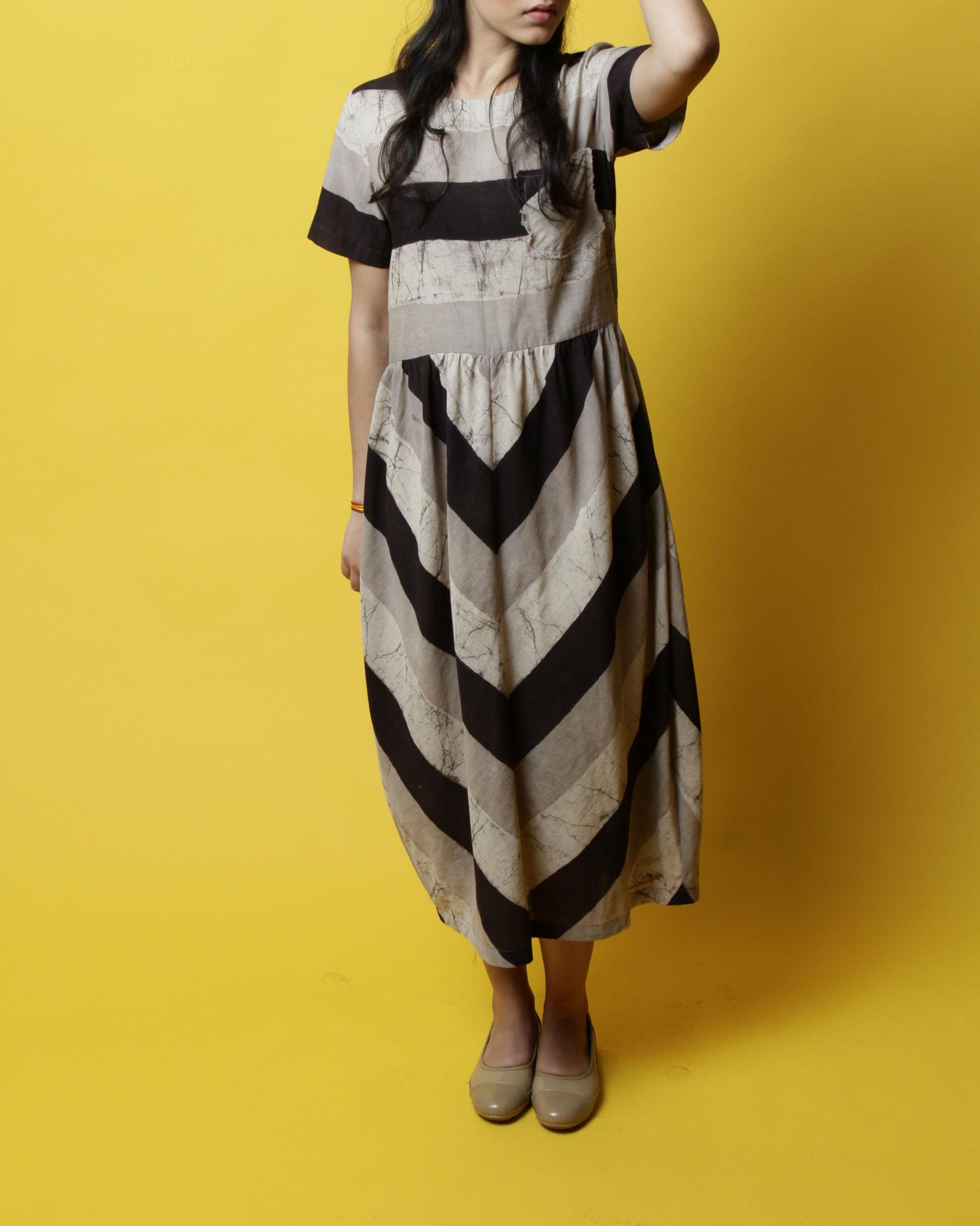 Grey striped balloon dress