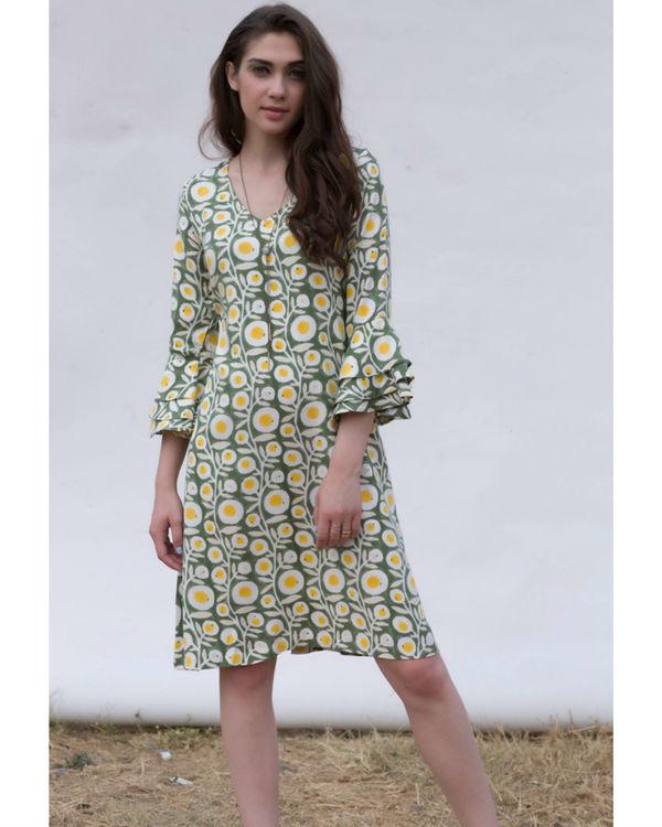 OLIVE FLARED SLEEVE BRUNCH DRESS