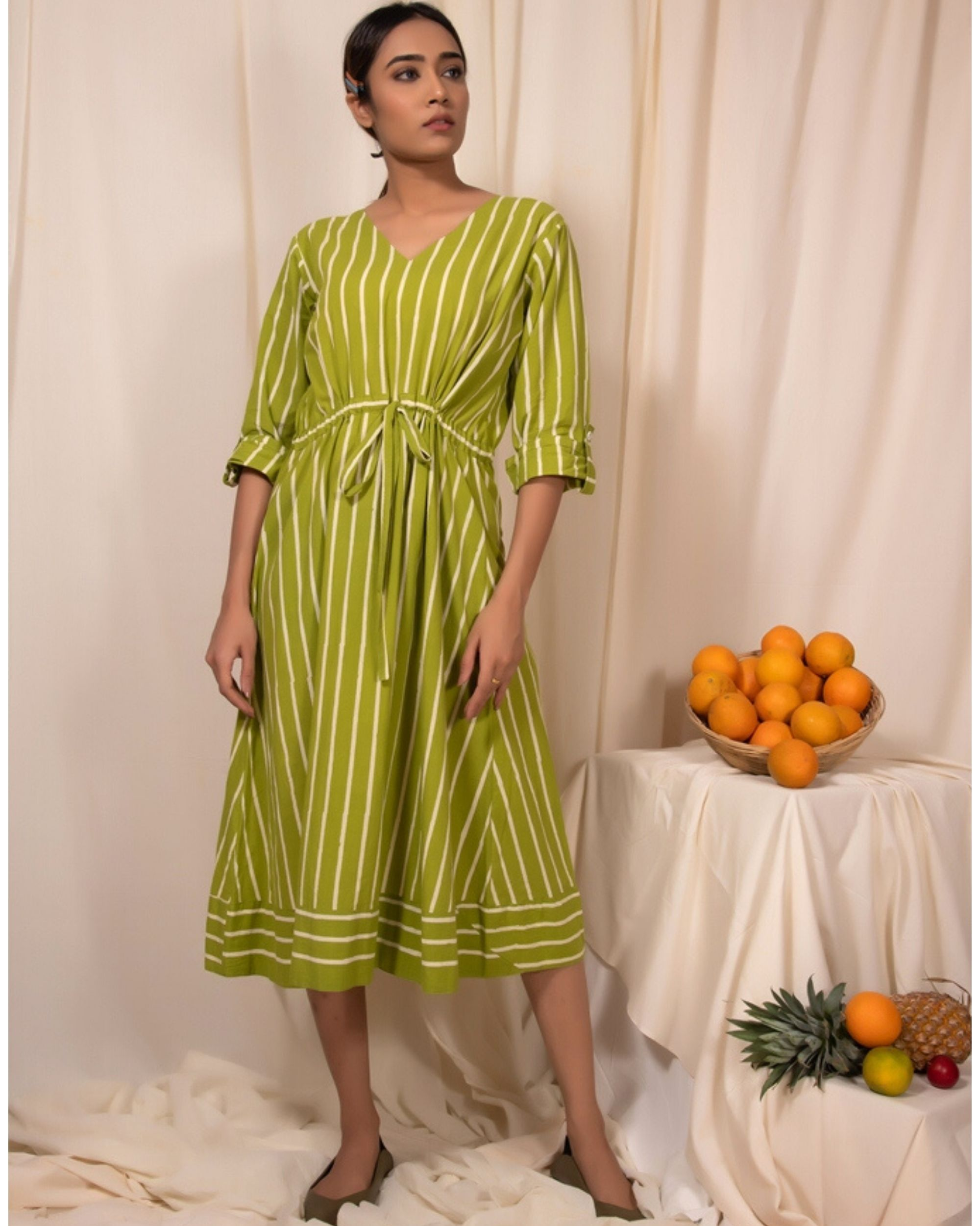 Lime green striped tie-up dress