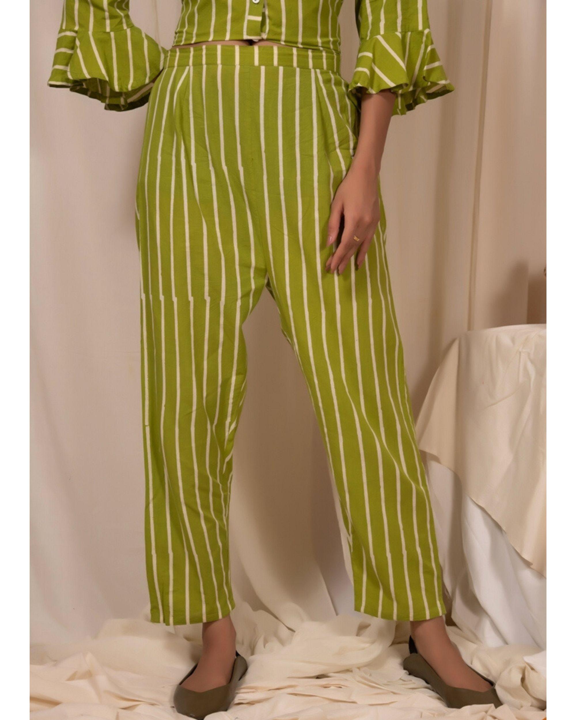 Lime green striped pants