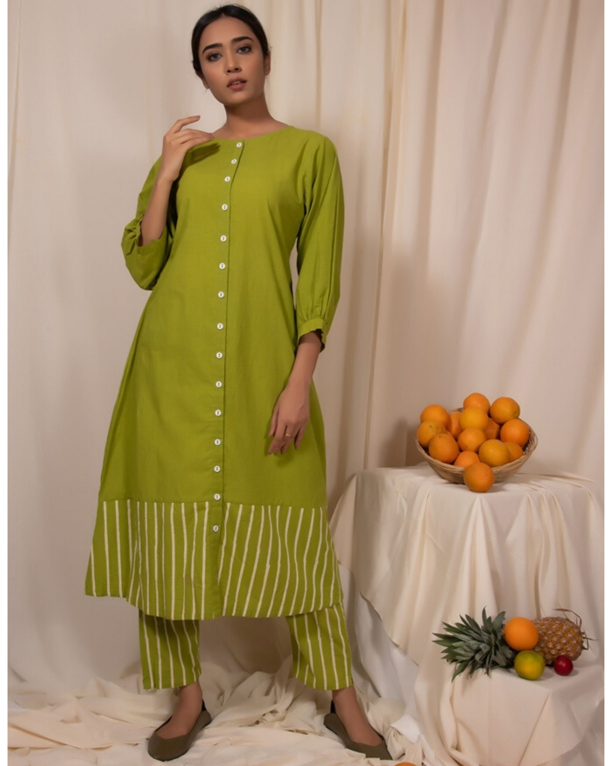 Lime green striped button down kurta