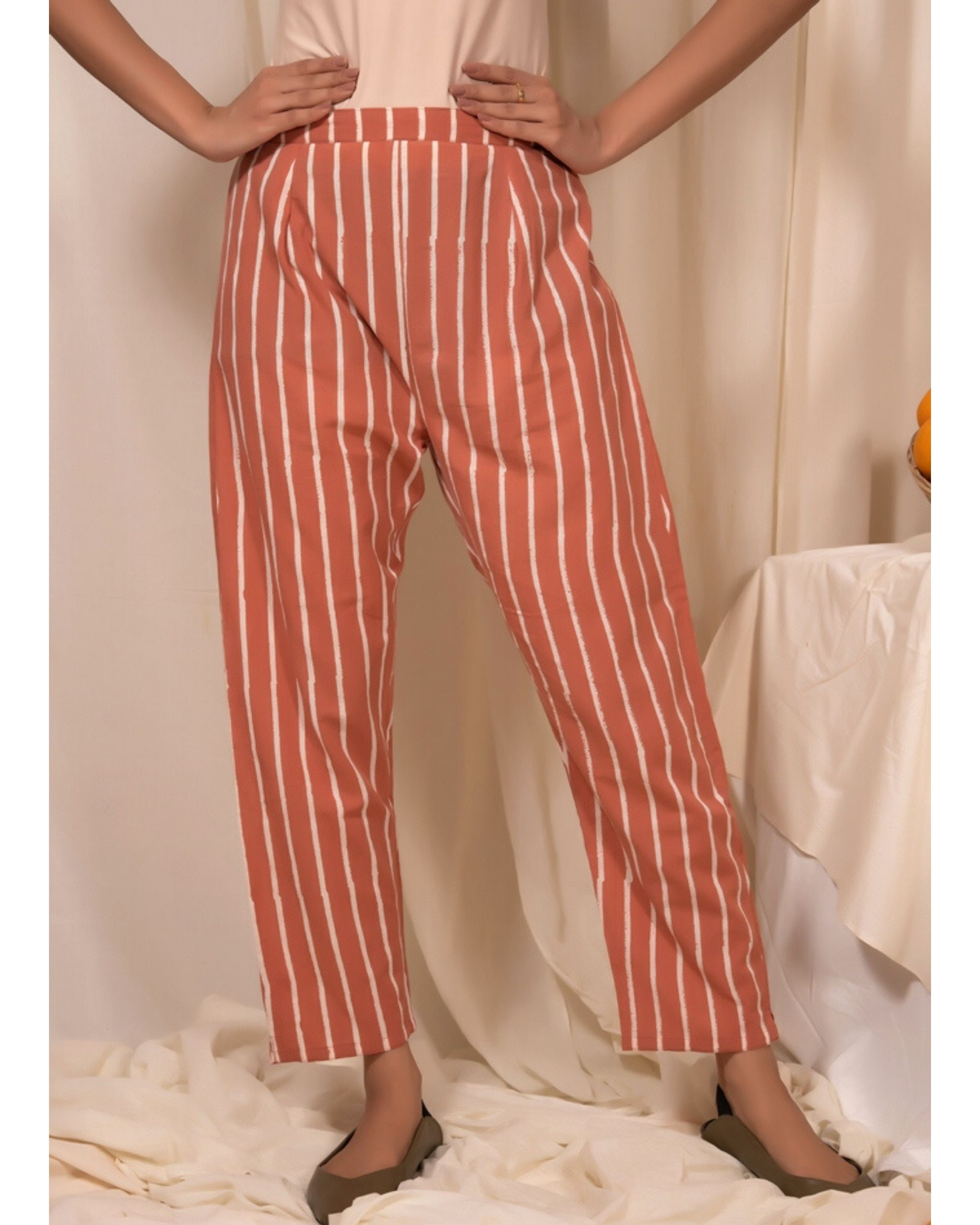 Peach striped pants
