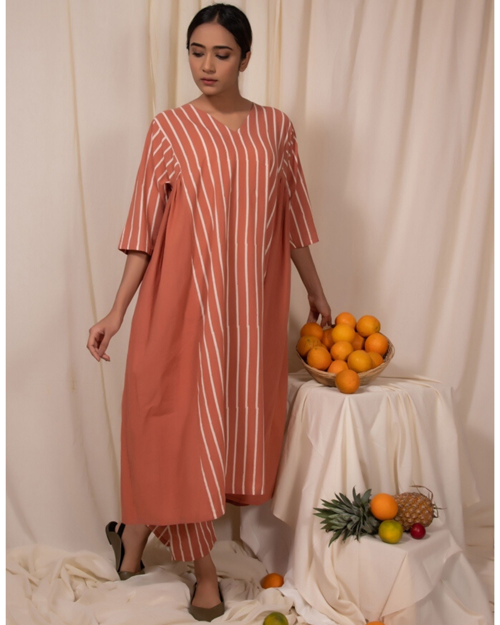Peach striped baggy kurta