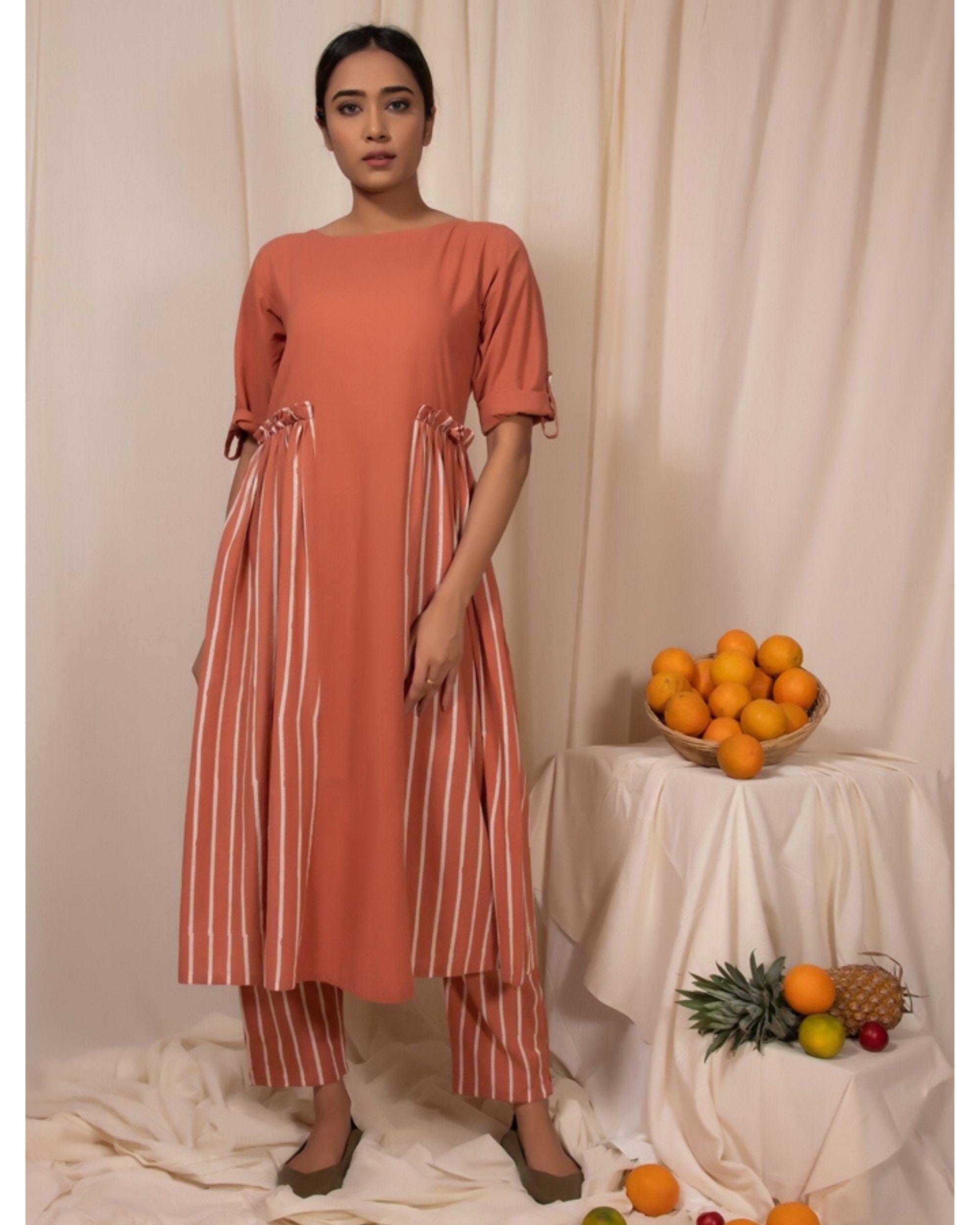 Peach striped panel dress