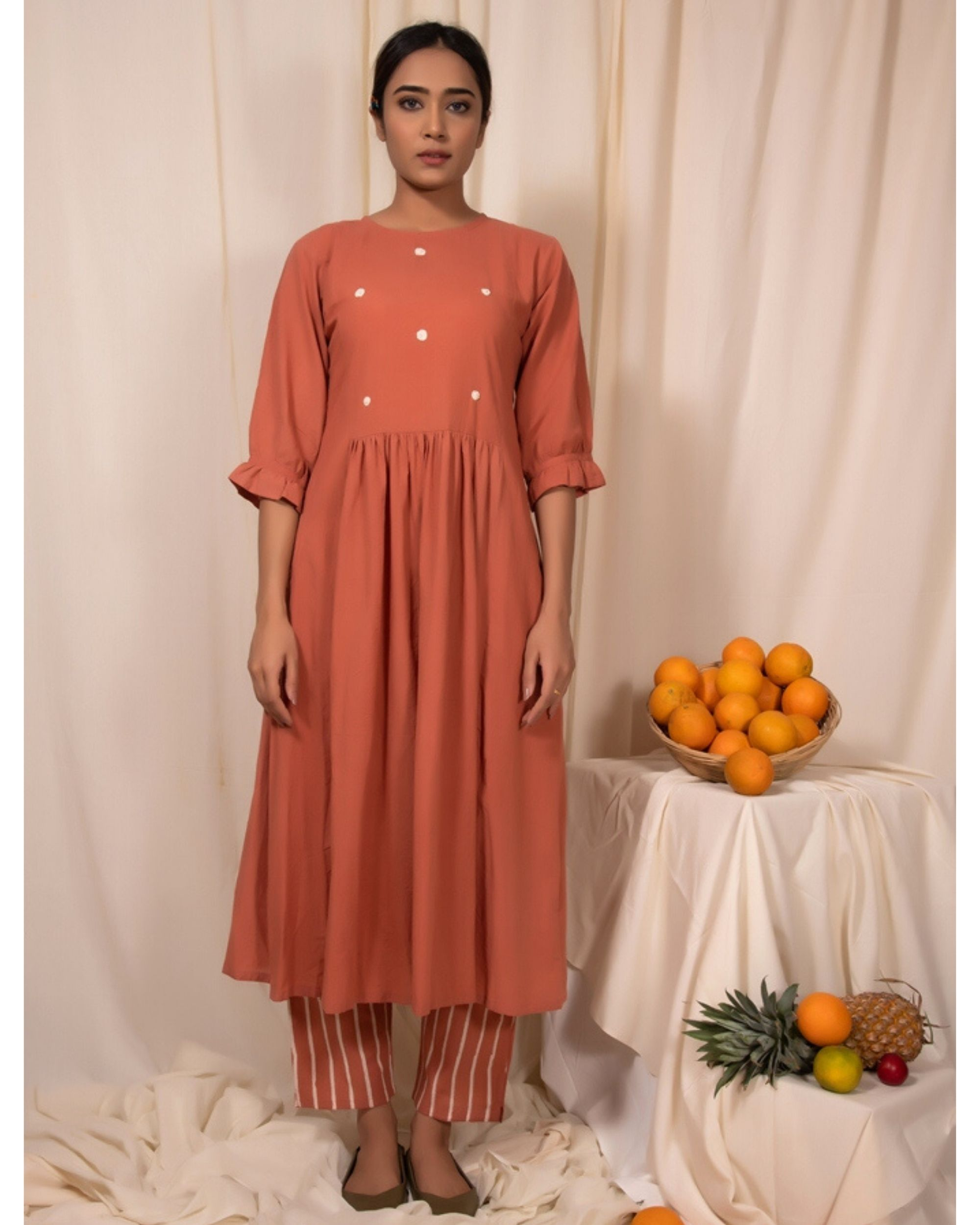 Peach embroidered kurta with gathers