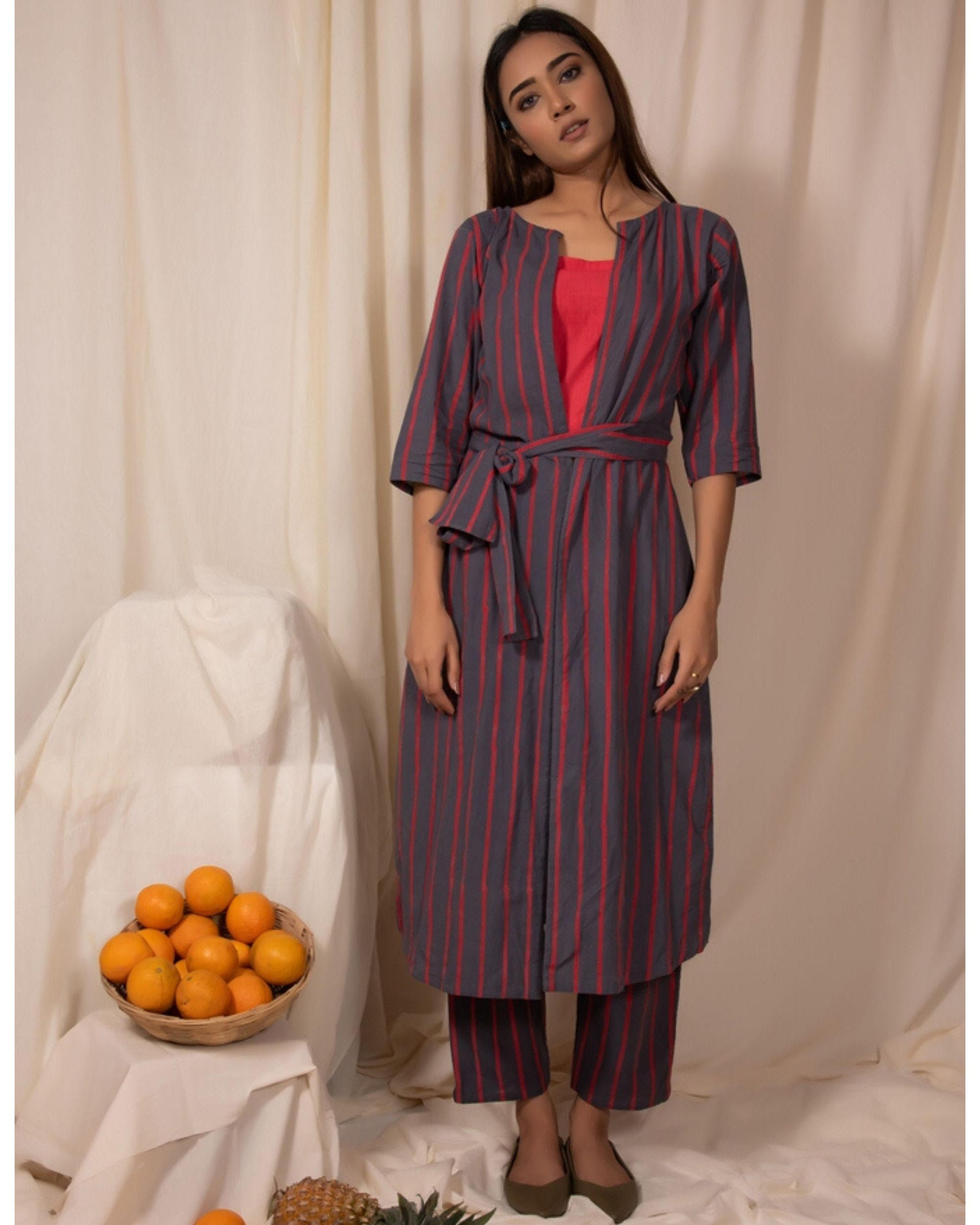 Grey striped jacket with crop and pants- Set Of Three