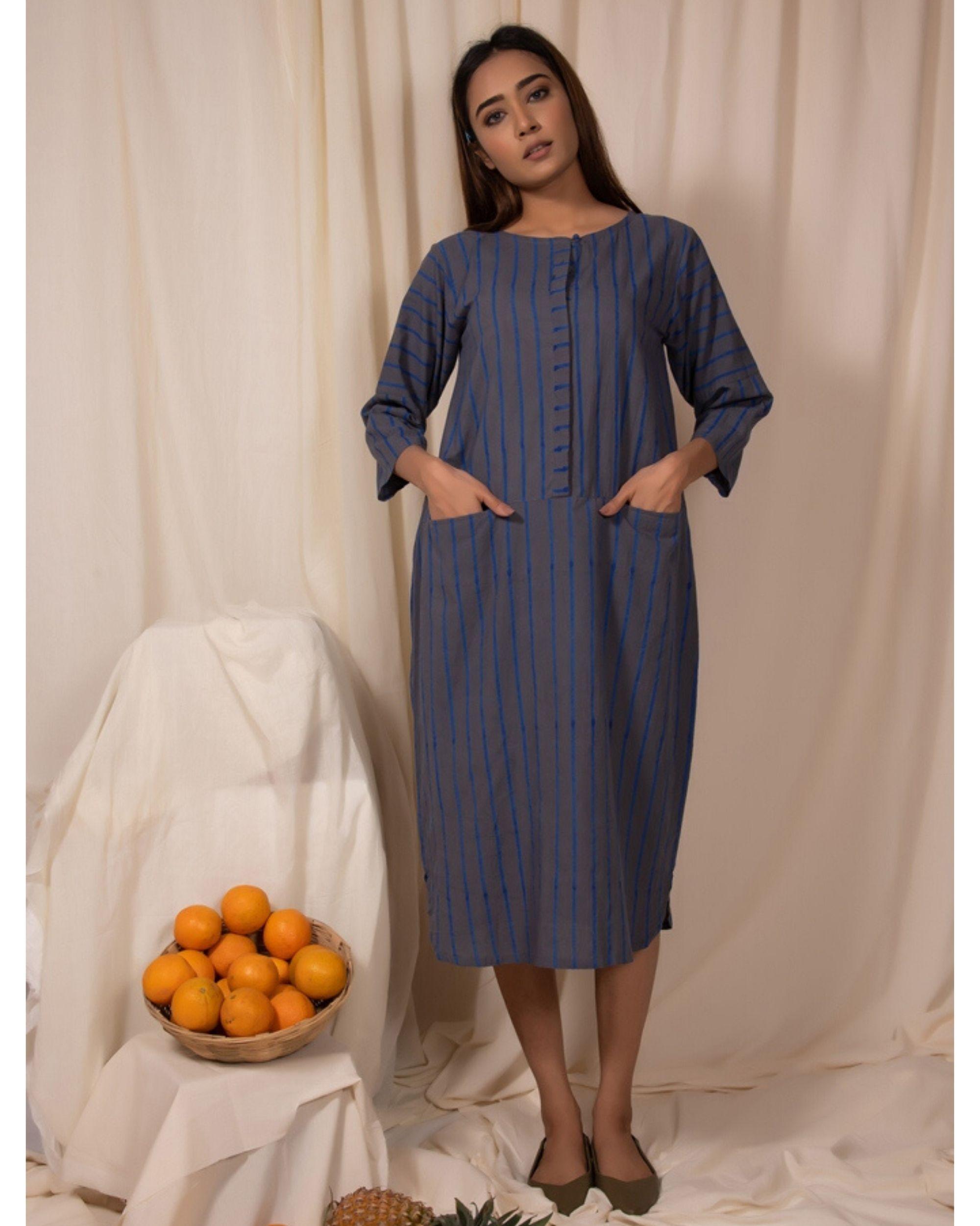 Bluish grey striped pocket kurta