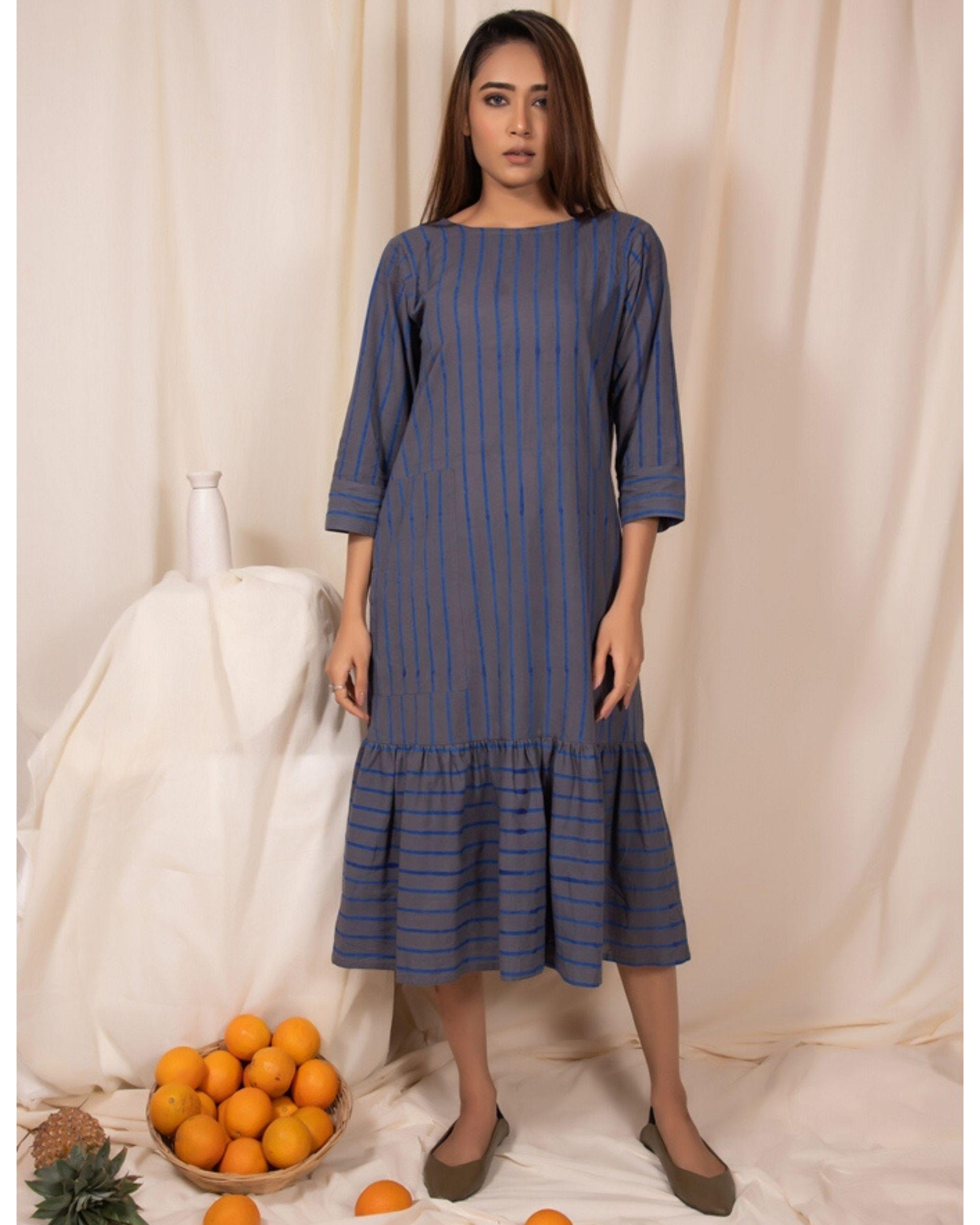 Bluish grey striped dress with gathers