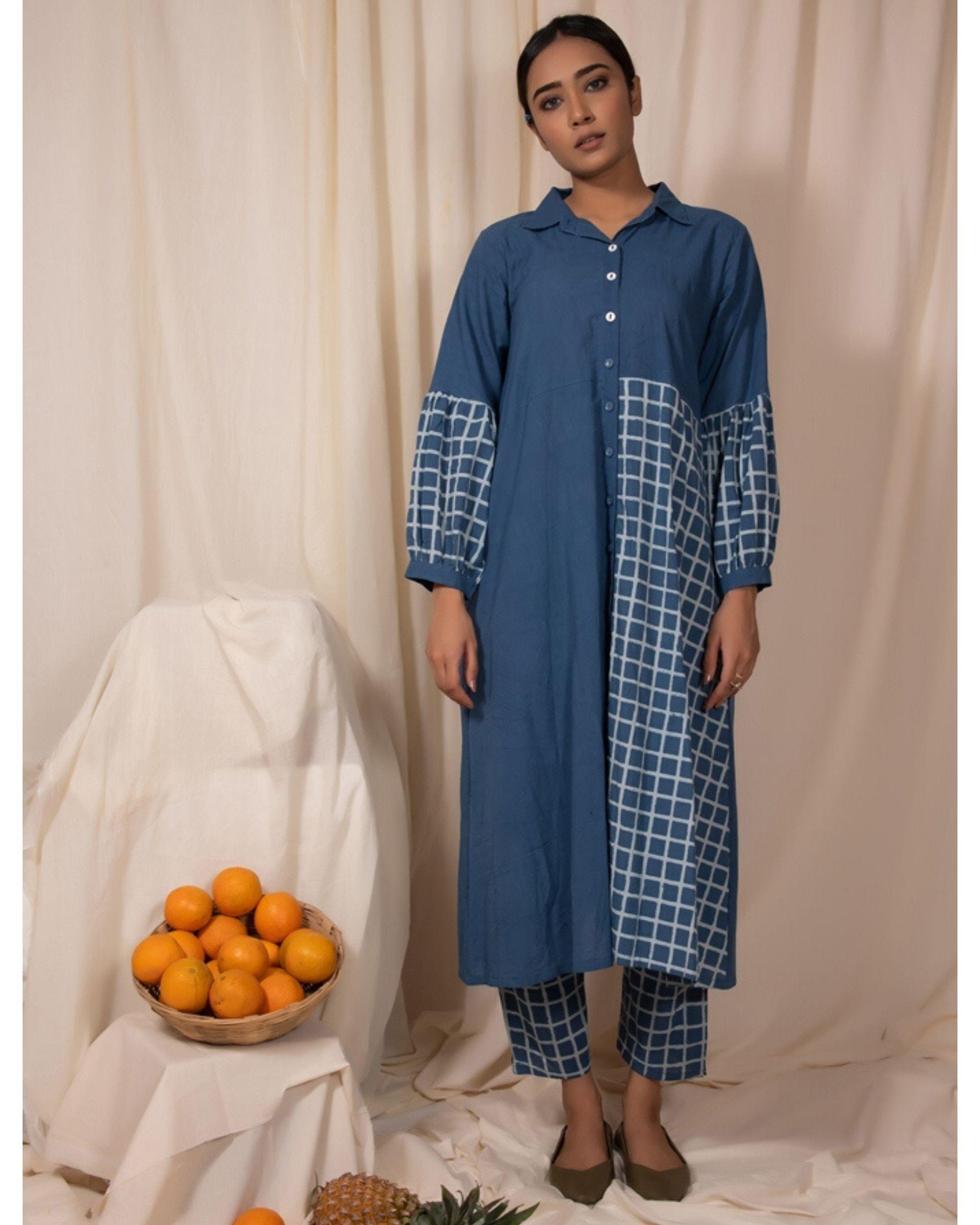 Blue checkered panel kurta and pants- Set Of Two