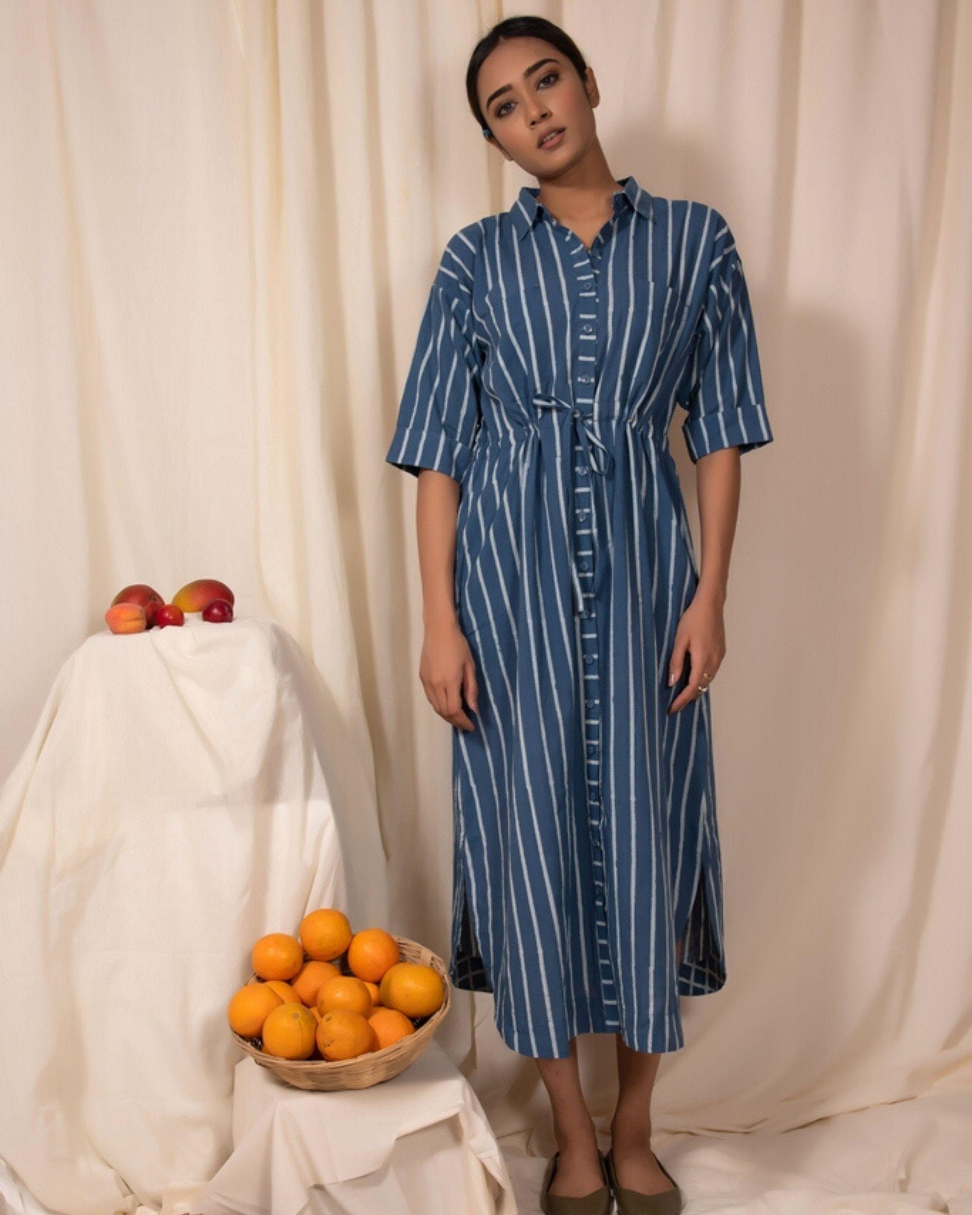 Blue striped shirt dress