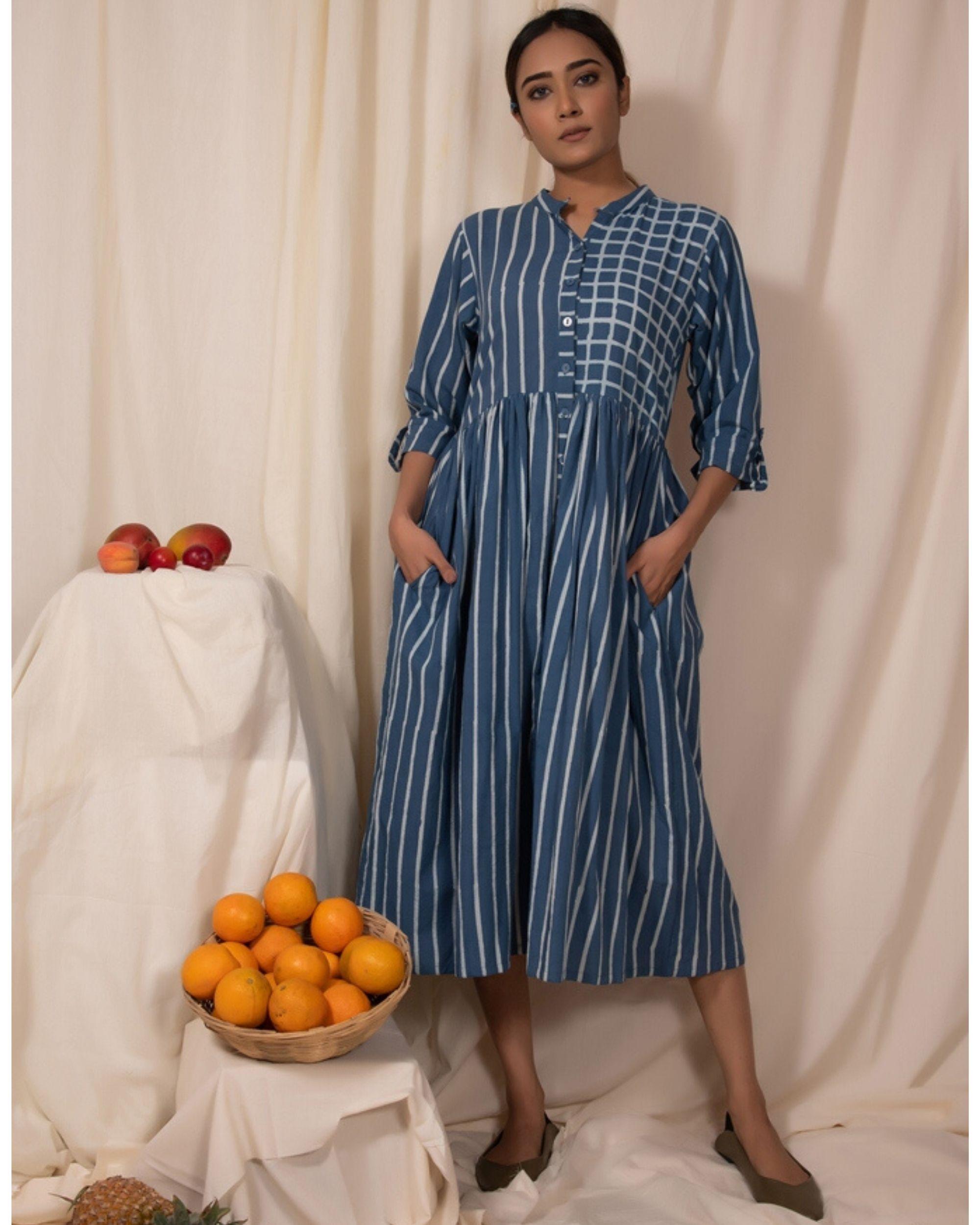 Blue striped button down dress