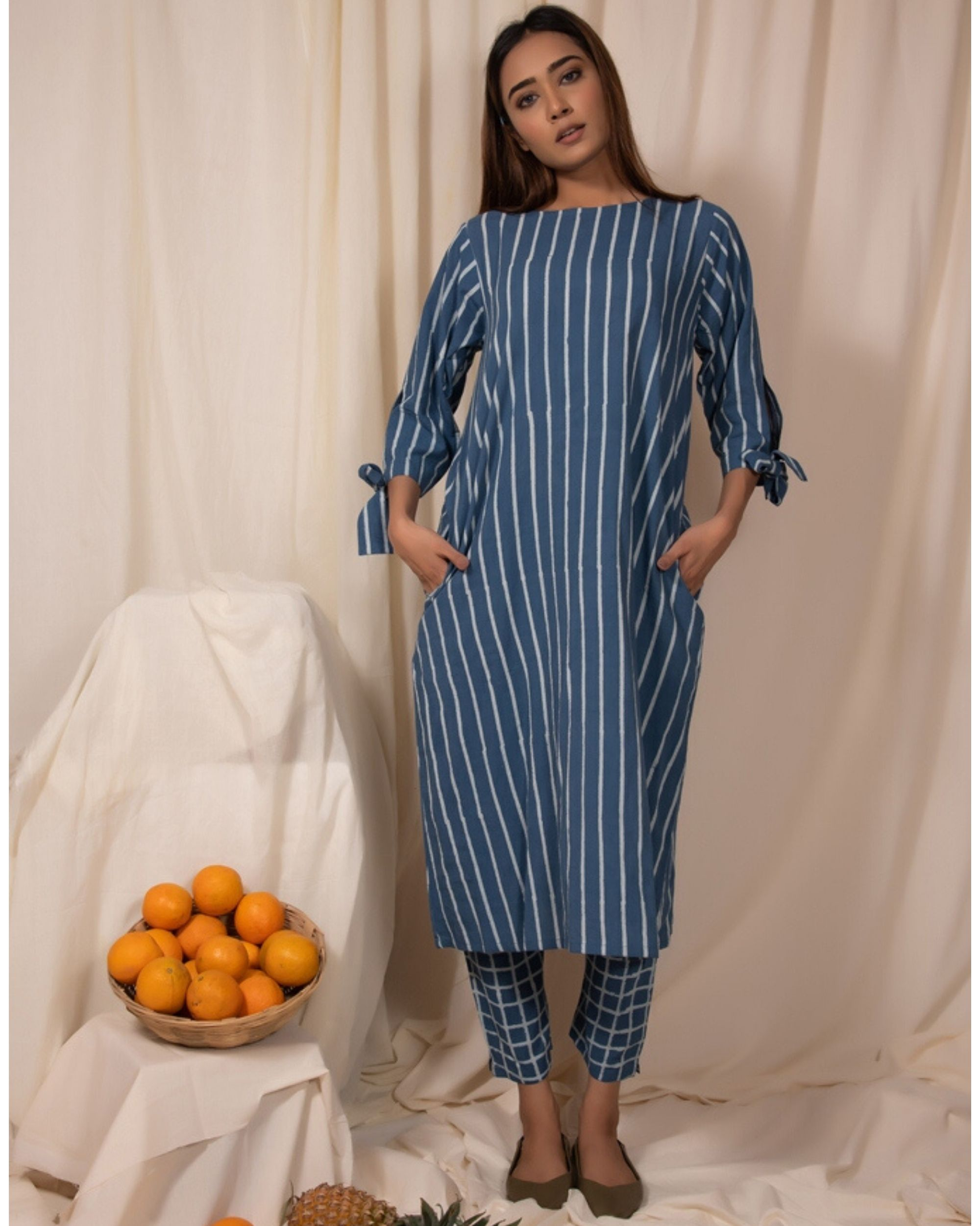 Blue striped tie-up sleeve kurta and pants- Set Of Two