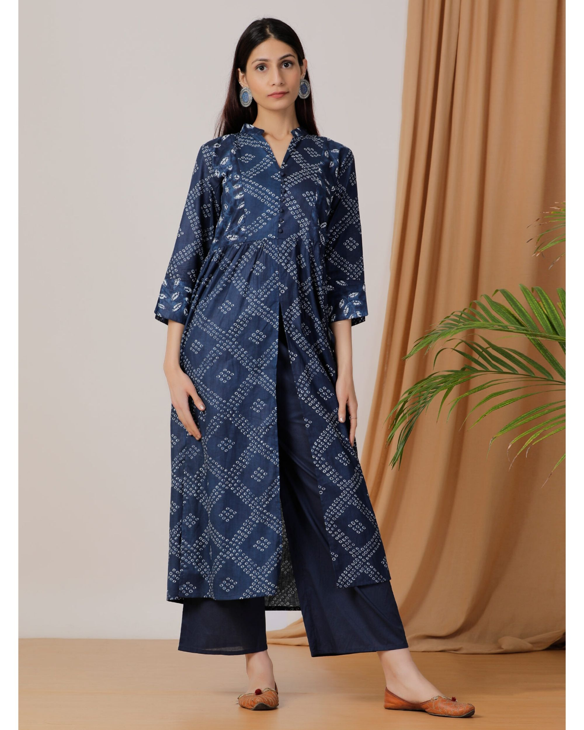 Indigo printed slit kurta and pants- Set Of Two