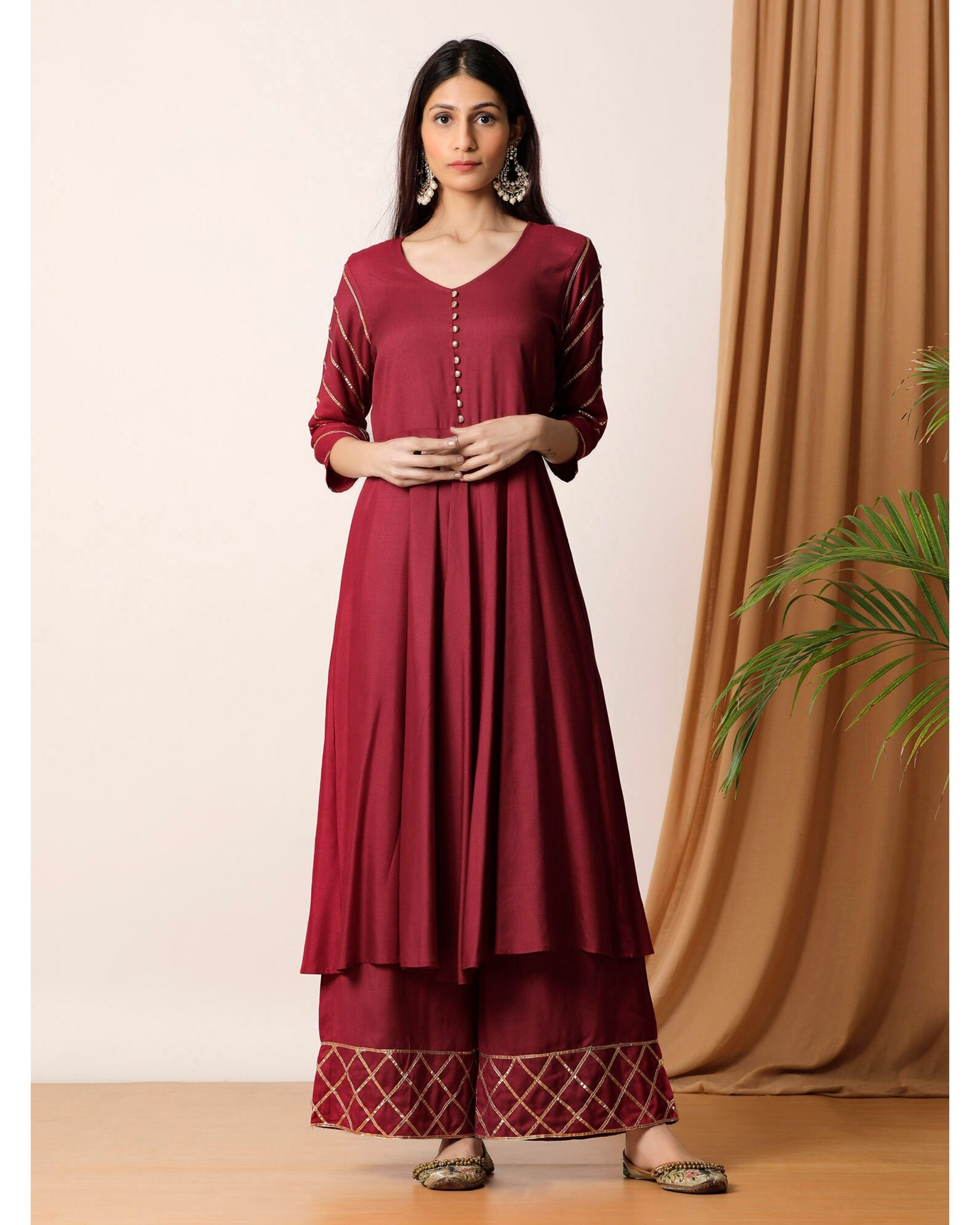 Maroon gota kurta and palazzo- Set Of Two