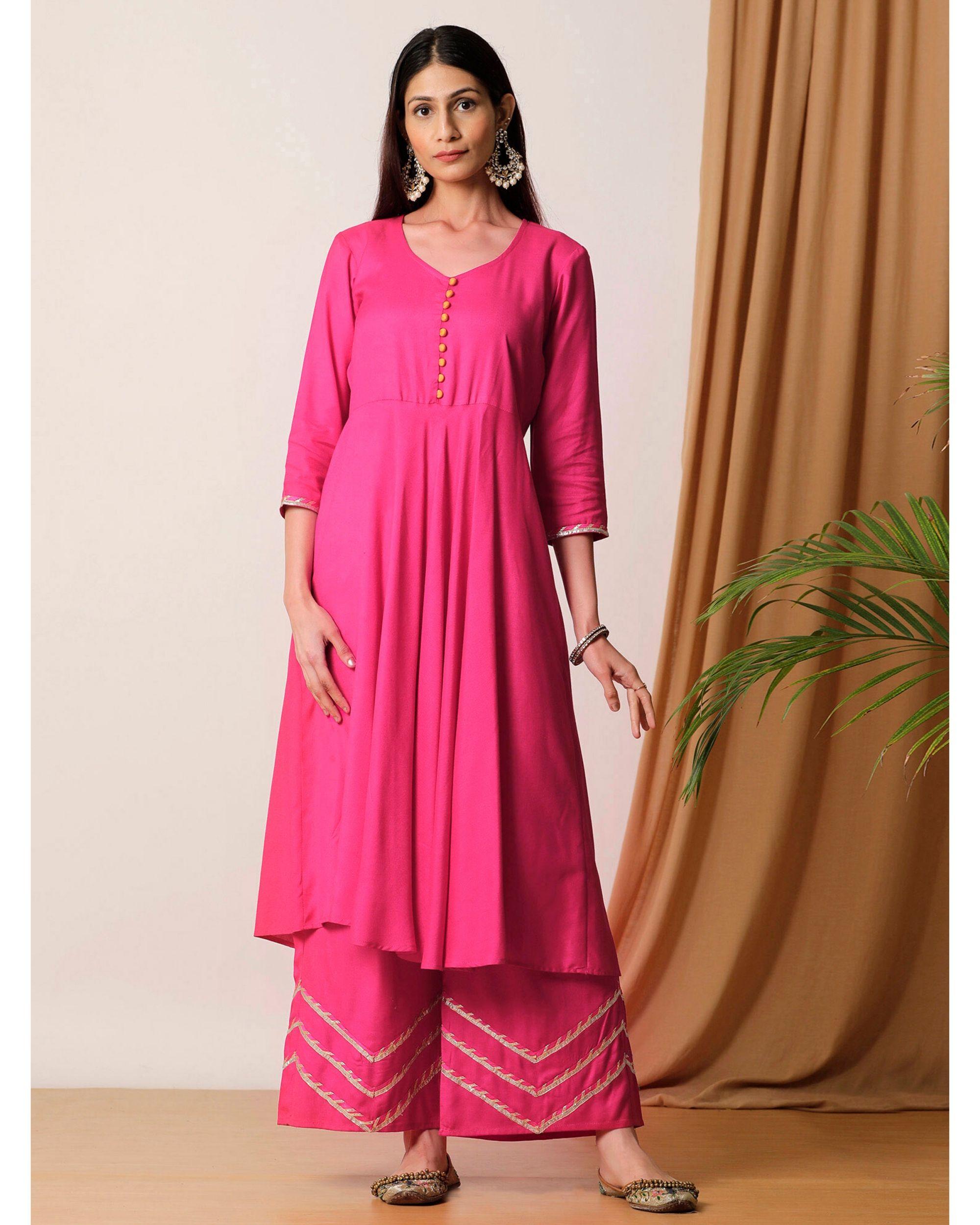 Rani pink flared kurta and palazzo- Set Of Two