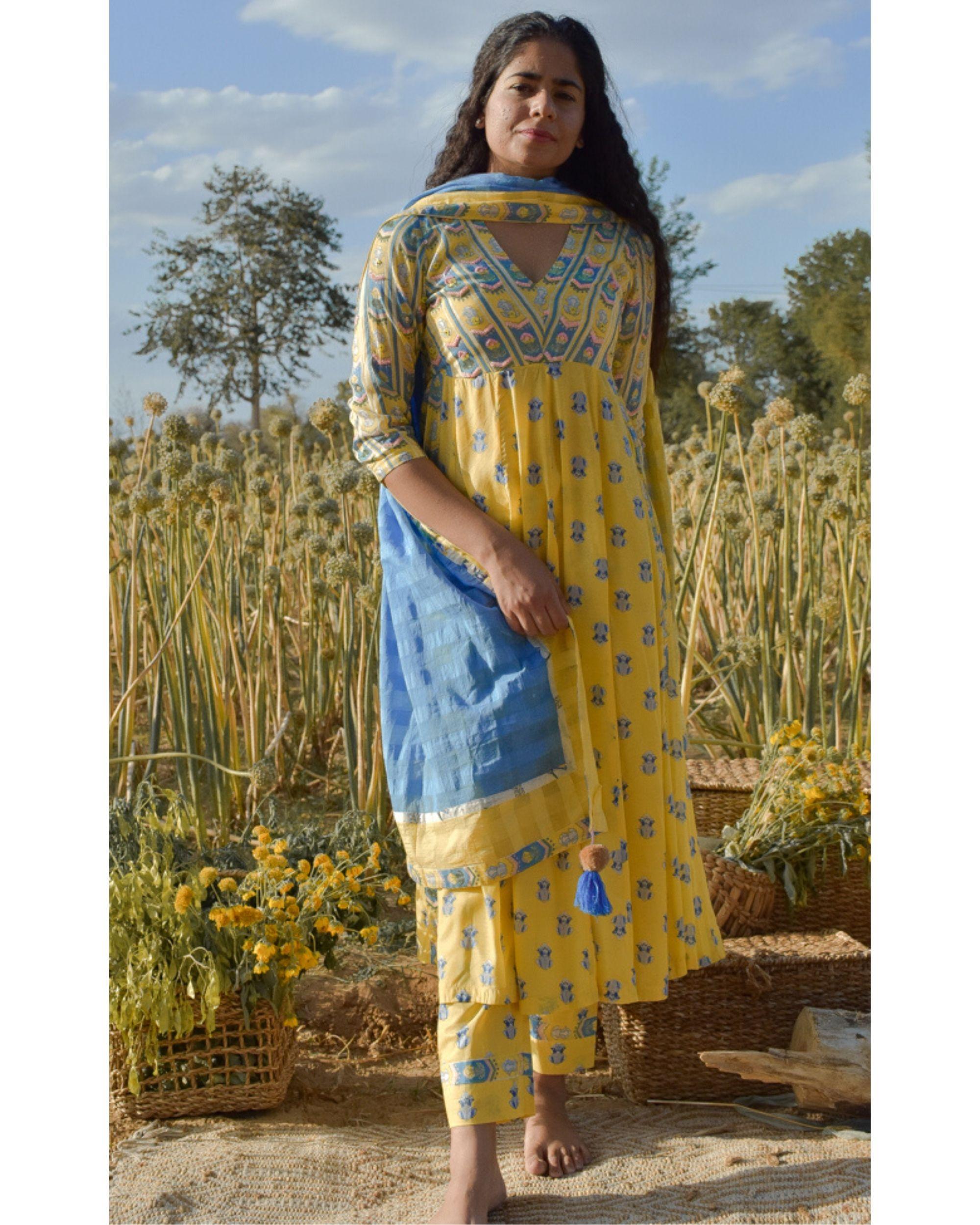 Yellow floral printed yoke kurta and pants with dupatta- Set Of Three