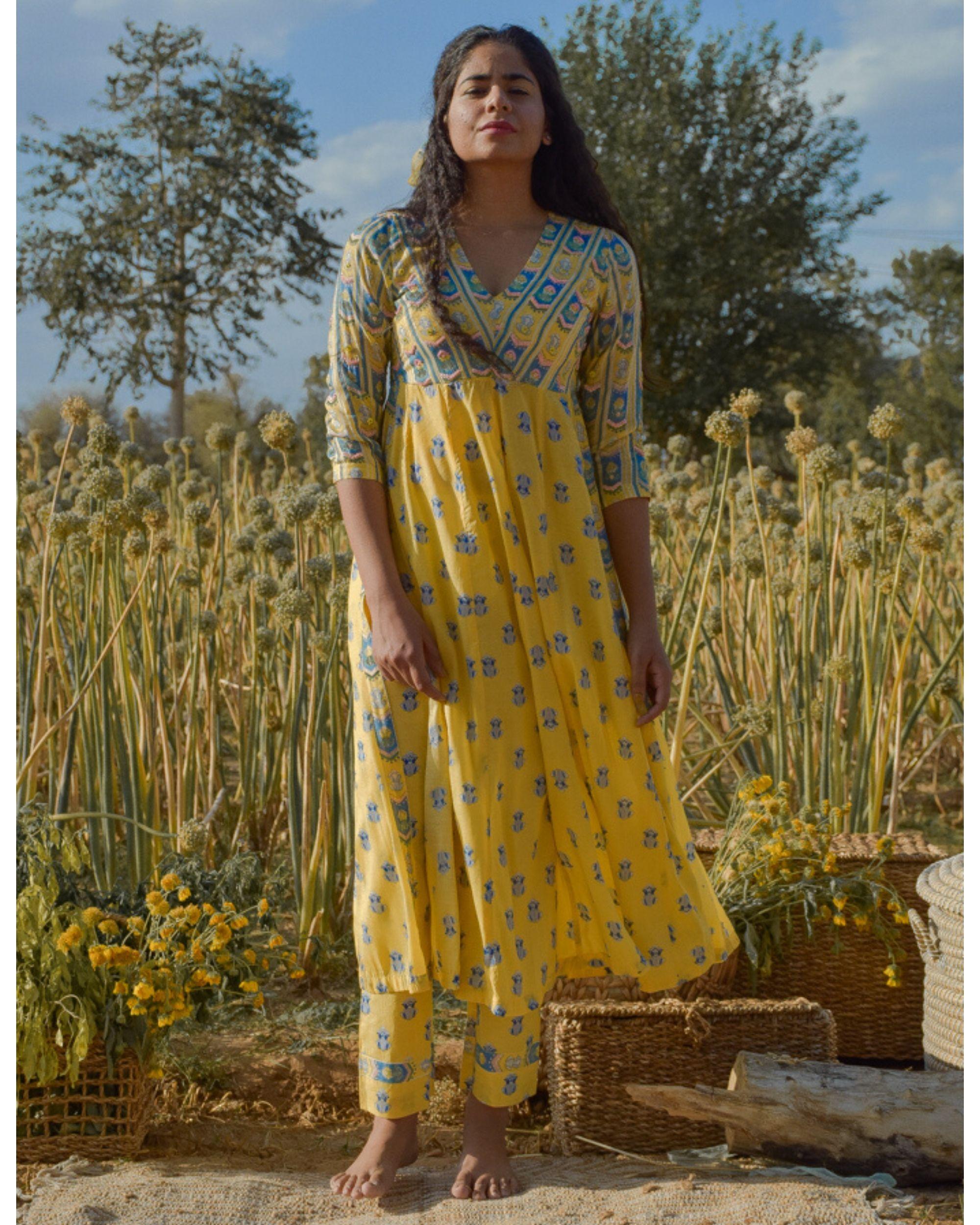 Yellow floral printed yoke kurta